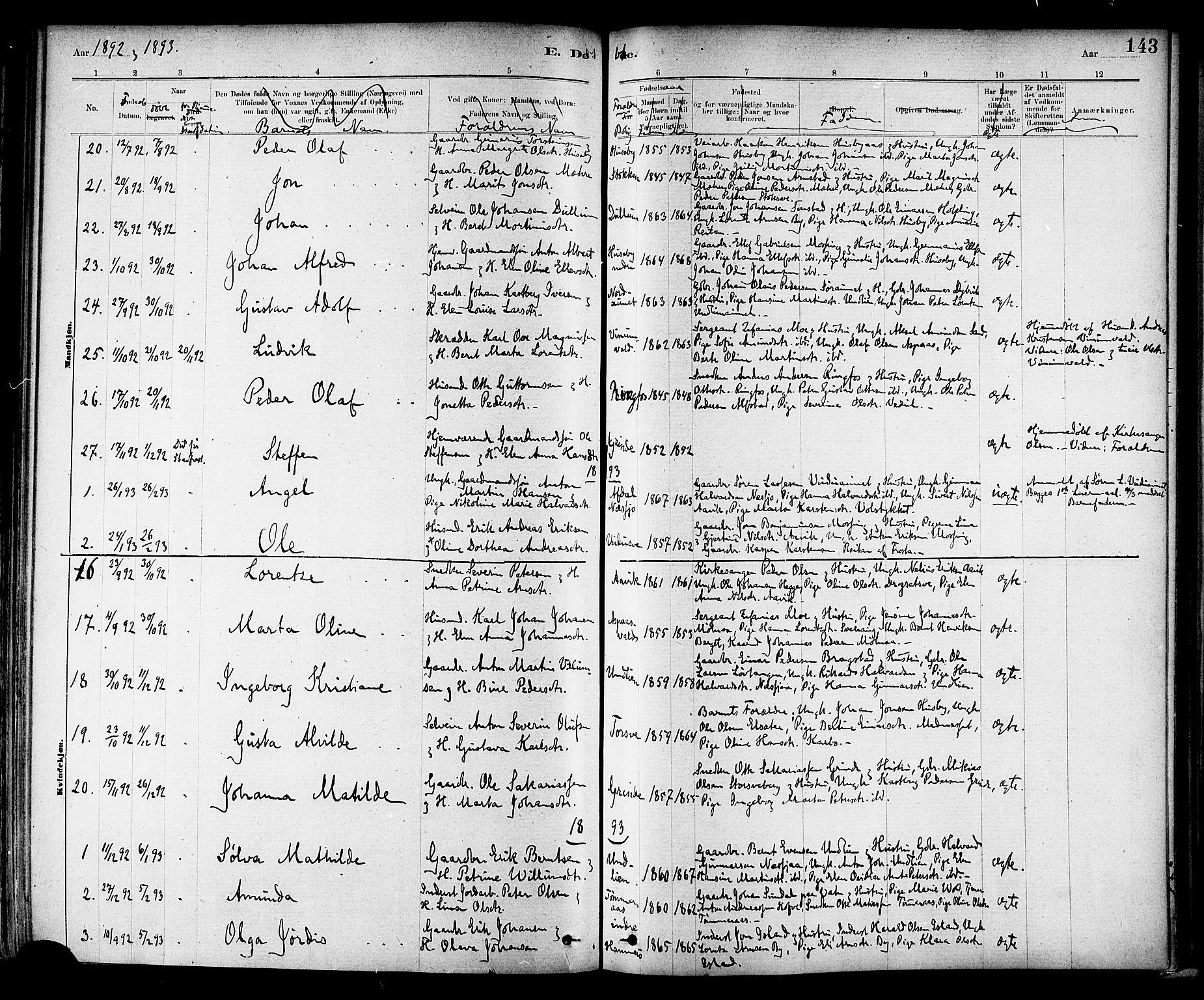 SAT, Ministerialprotokoller, klokkerbøker og fødselsregistre - Nord-Trøndelag, 714/L0130: Ministerialbok nr. 714A01, 1878-1895, s. 143