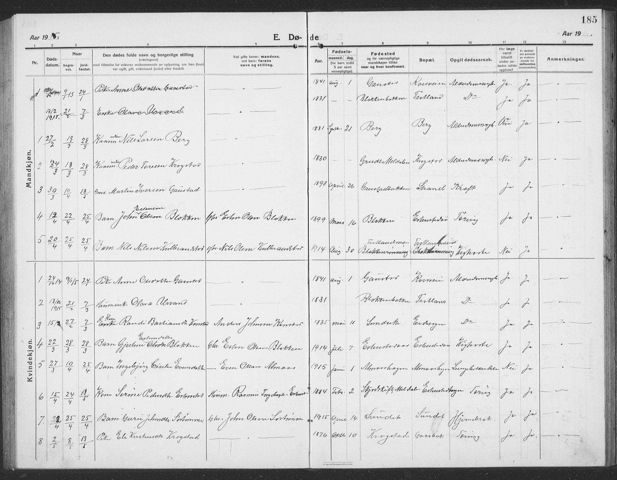 SAT, Ministerialprotokoller, klokkerbøker og fødselsregistre - Sør-Trøndelag, 694/L1134: Klokkerbok nr. 694C06, 1915-1937, s. 185