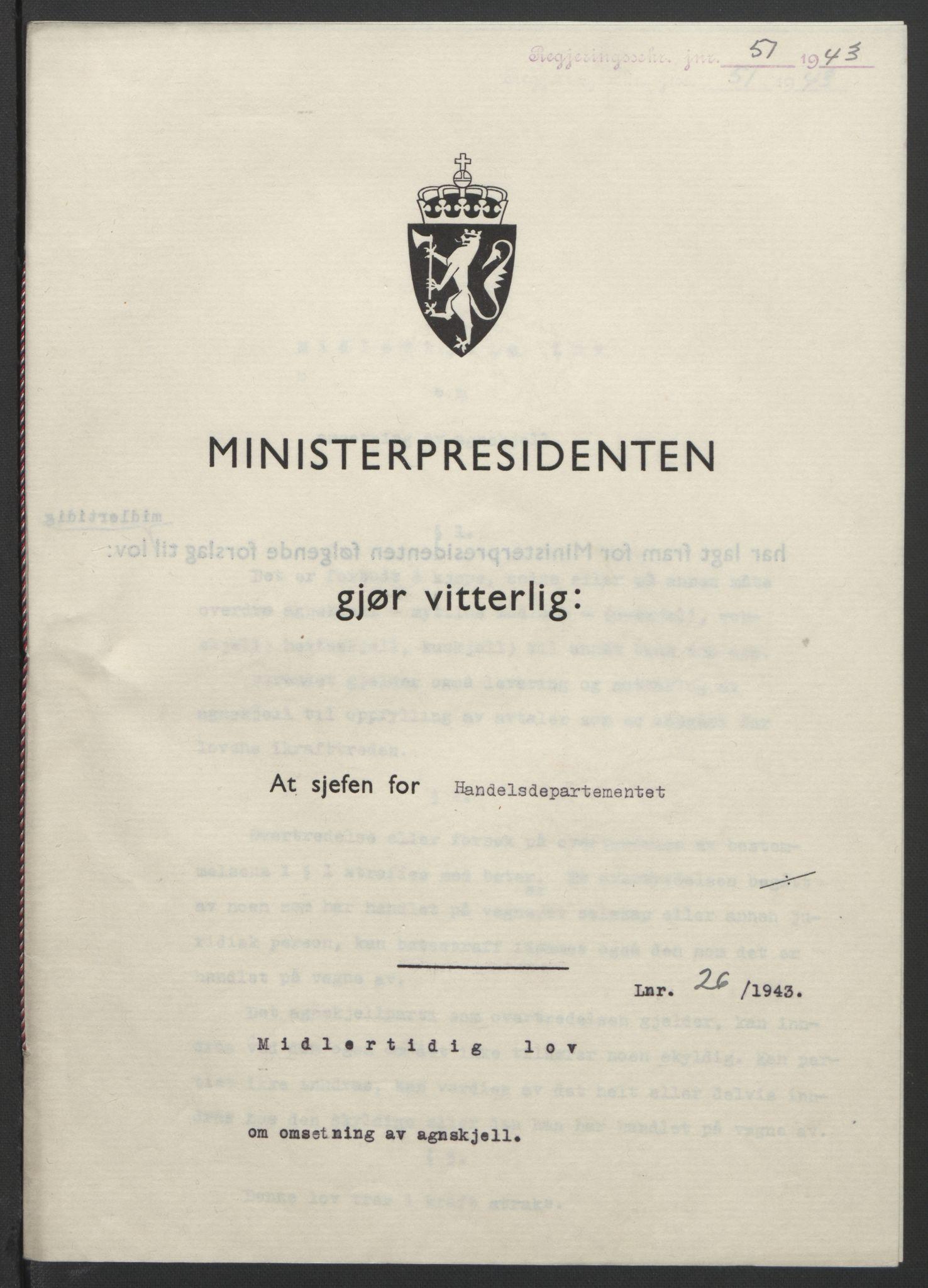 RA, NS-administrasjonen 1940-1945 (Statsrådsekretariatet, de kommisariske statsråder mm), D/Db/L0099: Lover, 1943, s. 105