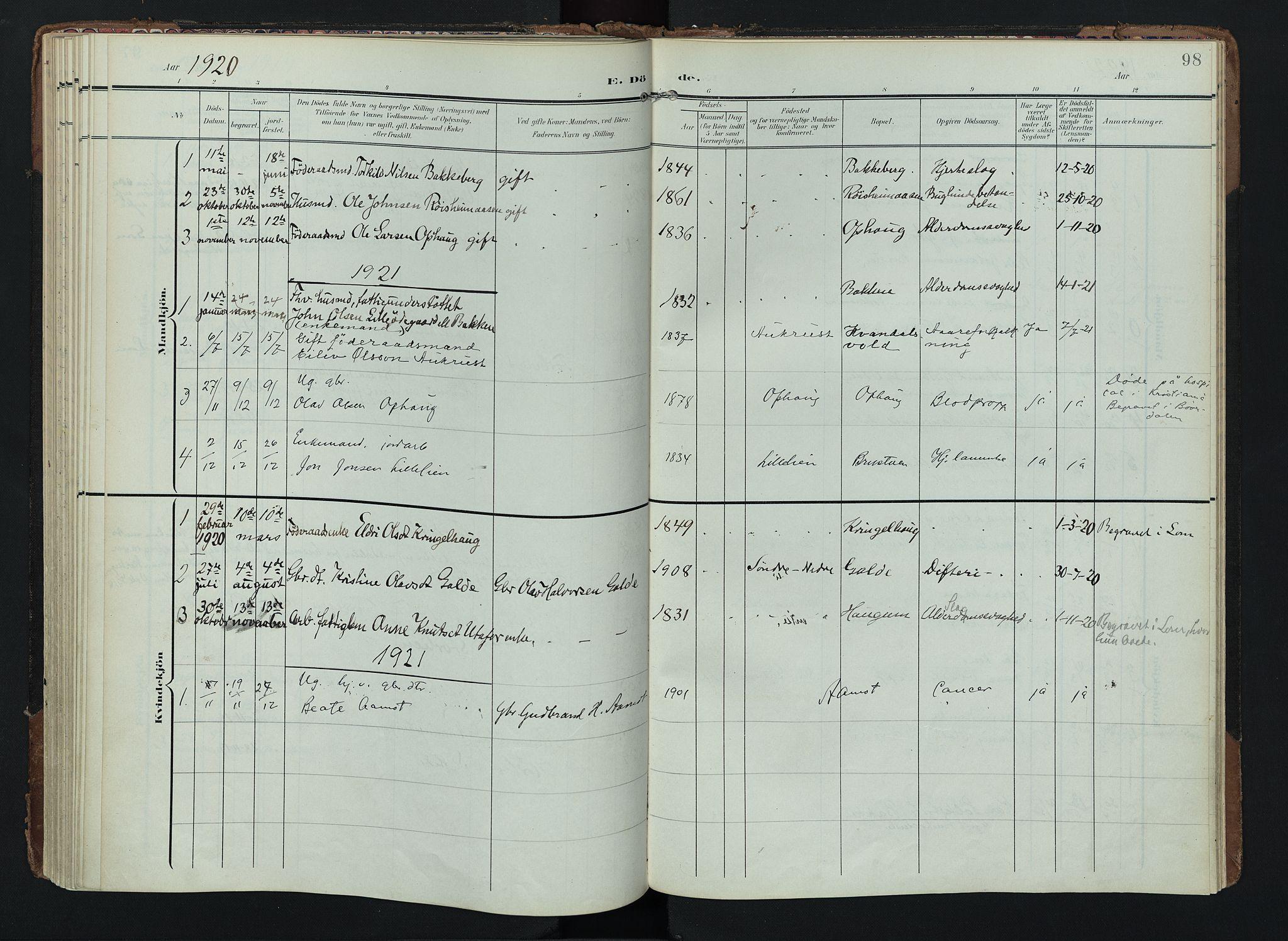 SAH, Lom prestekontor, K/L0012: Ministerialbok nr. 12, 1904-1928, s. 98