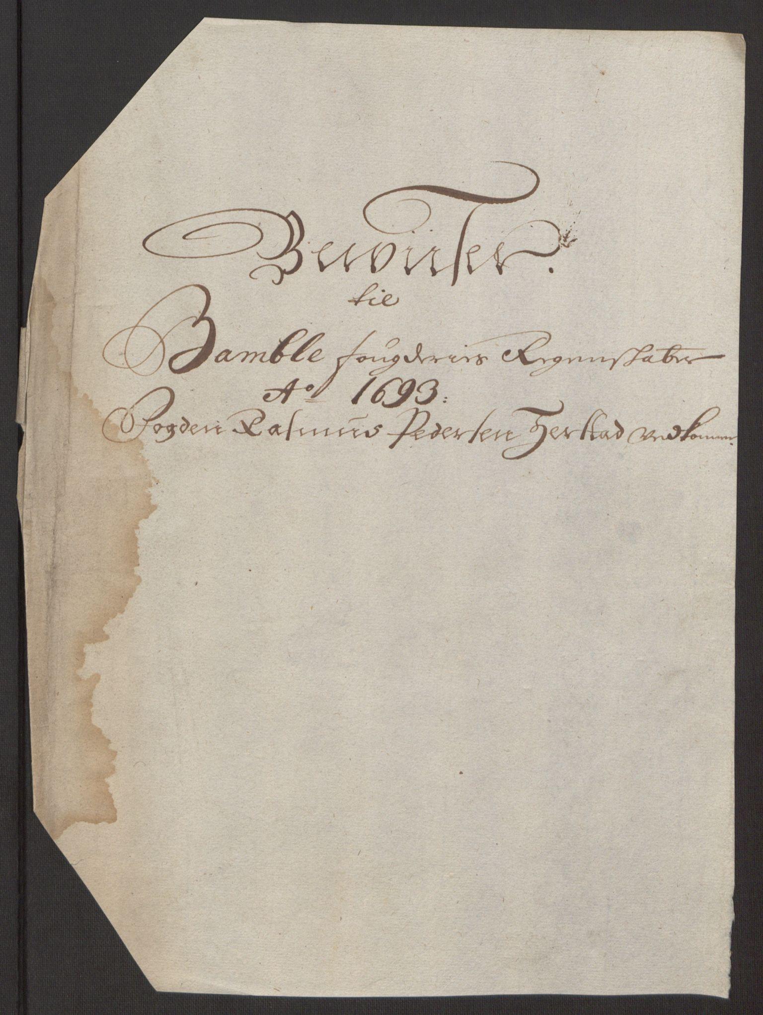 RA, Rentekammeret inntil 1814, Reviderte regnskaper, Fogderegnskap, R34/L2052: Fogderegnskap Bamble, 1692-1693, s. 367