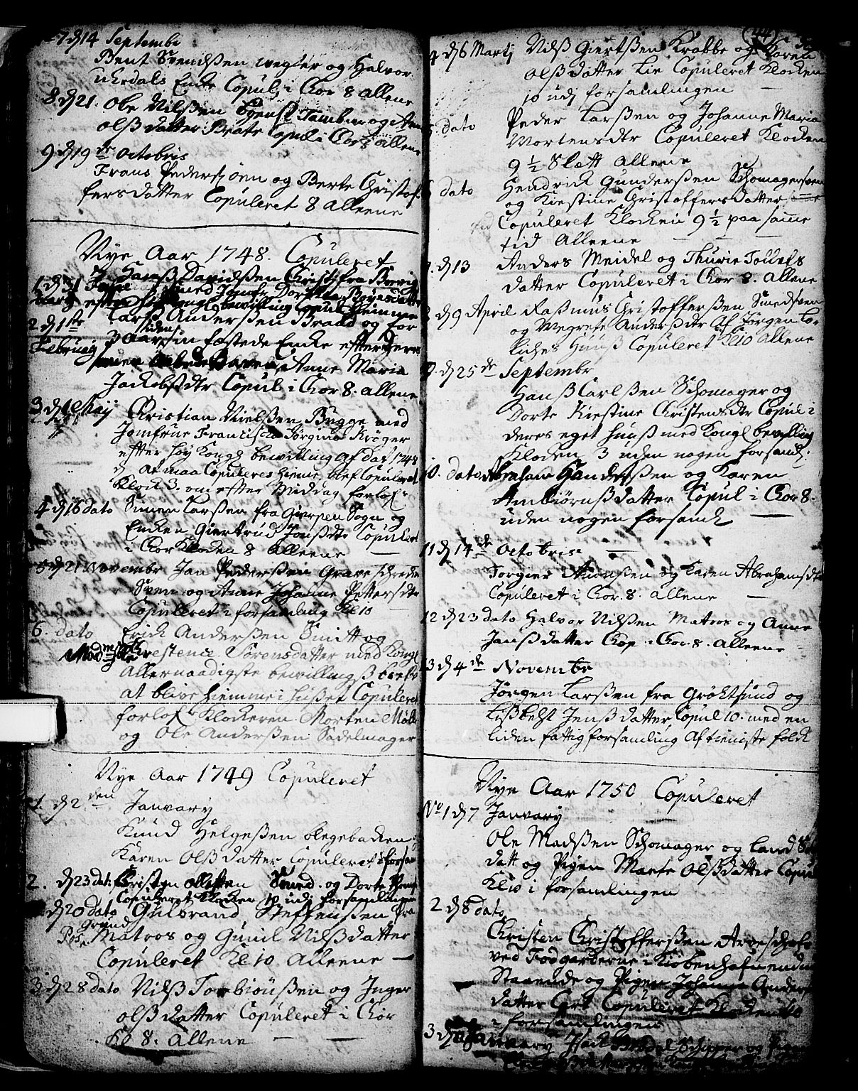 SAKO, Skien kirkebøker, F/Fa/L0002: Ministerialbok nr. 2, 1716-1757, s. 44
