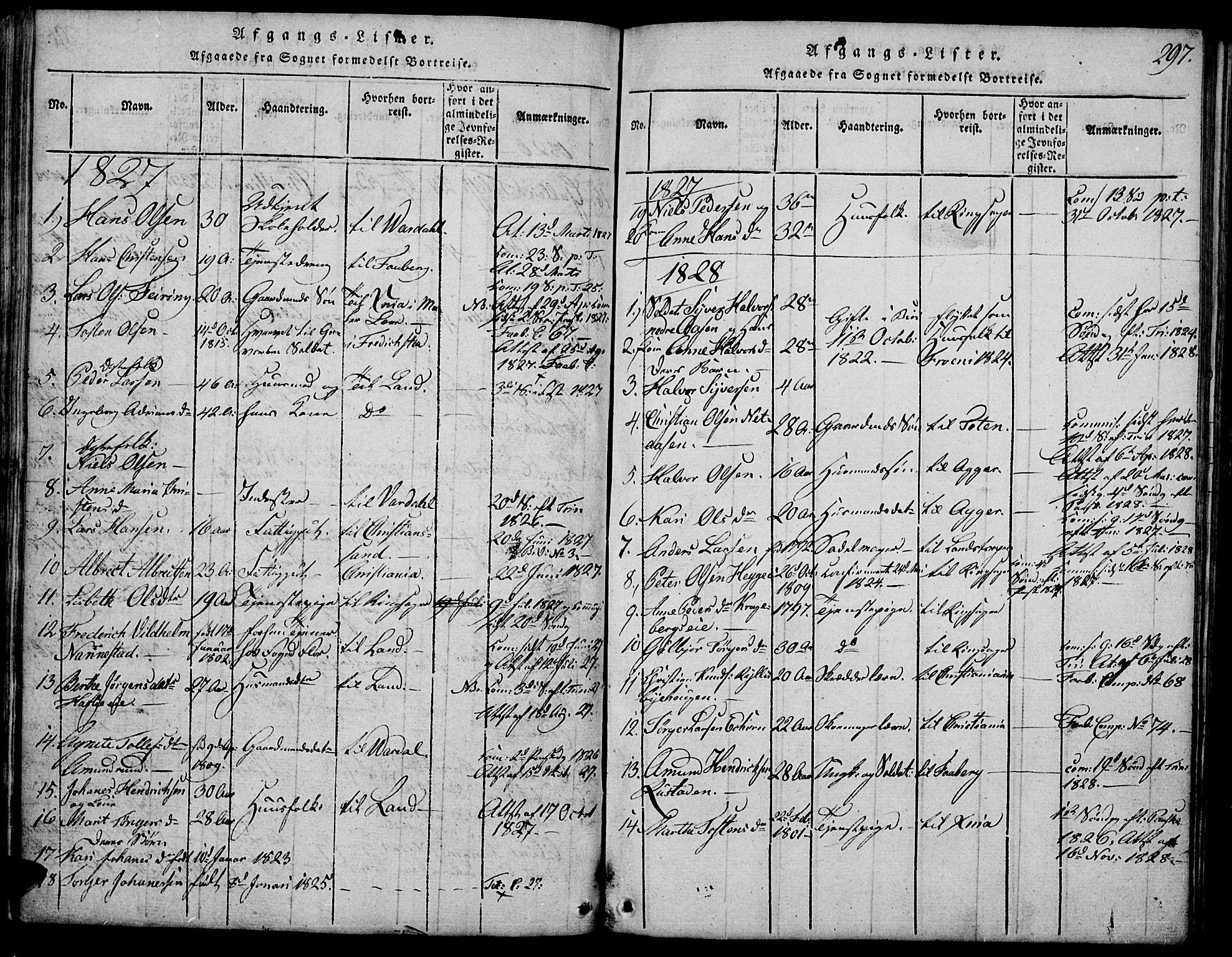 SAH, Biri prestekontor, Klokkerbok nr. 1, 1814-1828, s. 297
