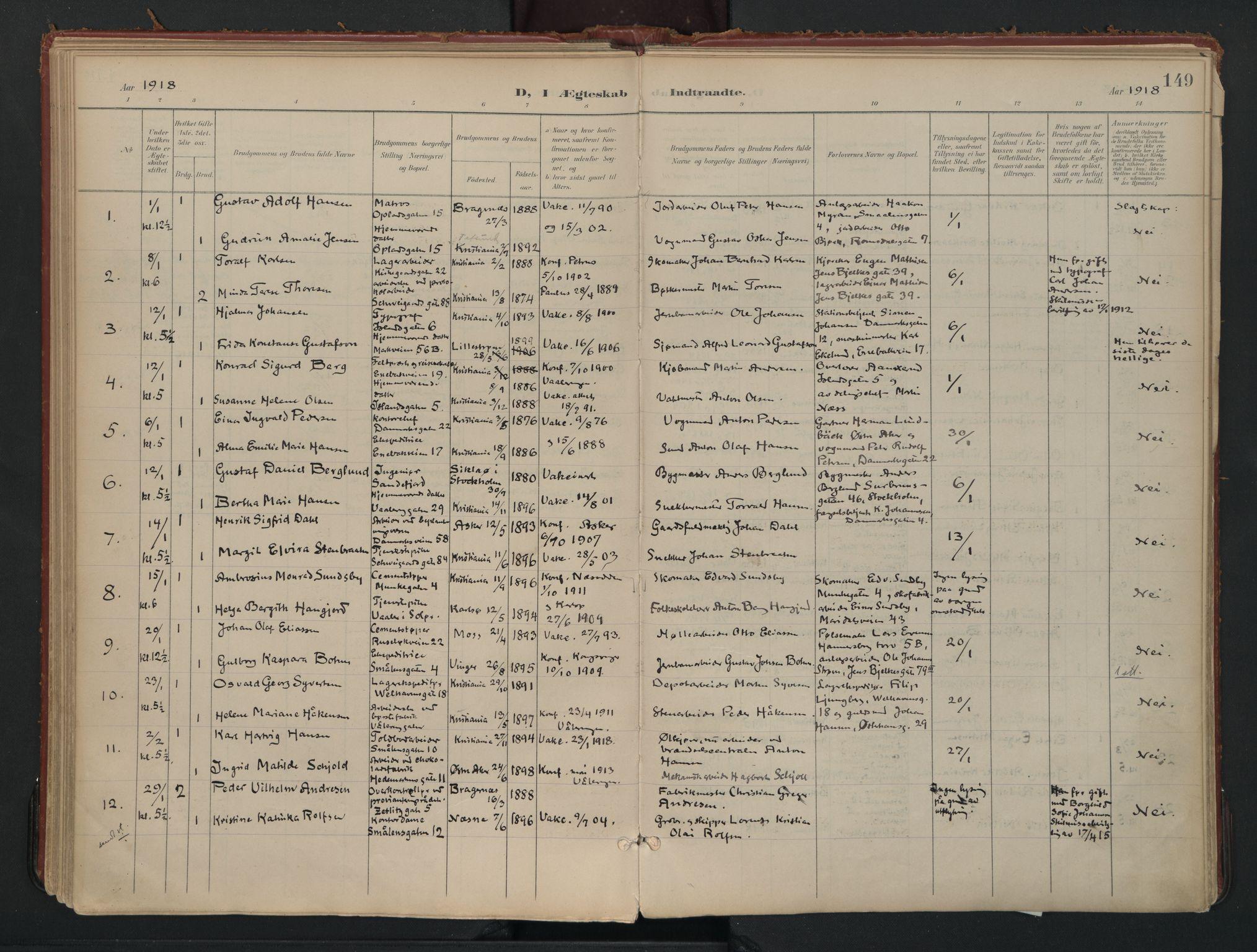 SAO, Vålerengen prestekontor Kirkebøker, F/Fa/L0002: Ministerialbok nr. 2, 1899-1924, s. 149