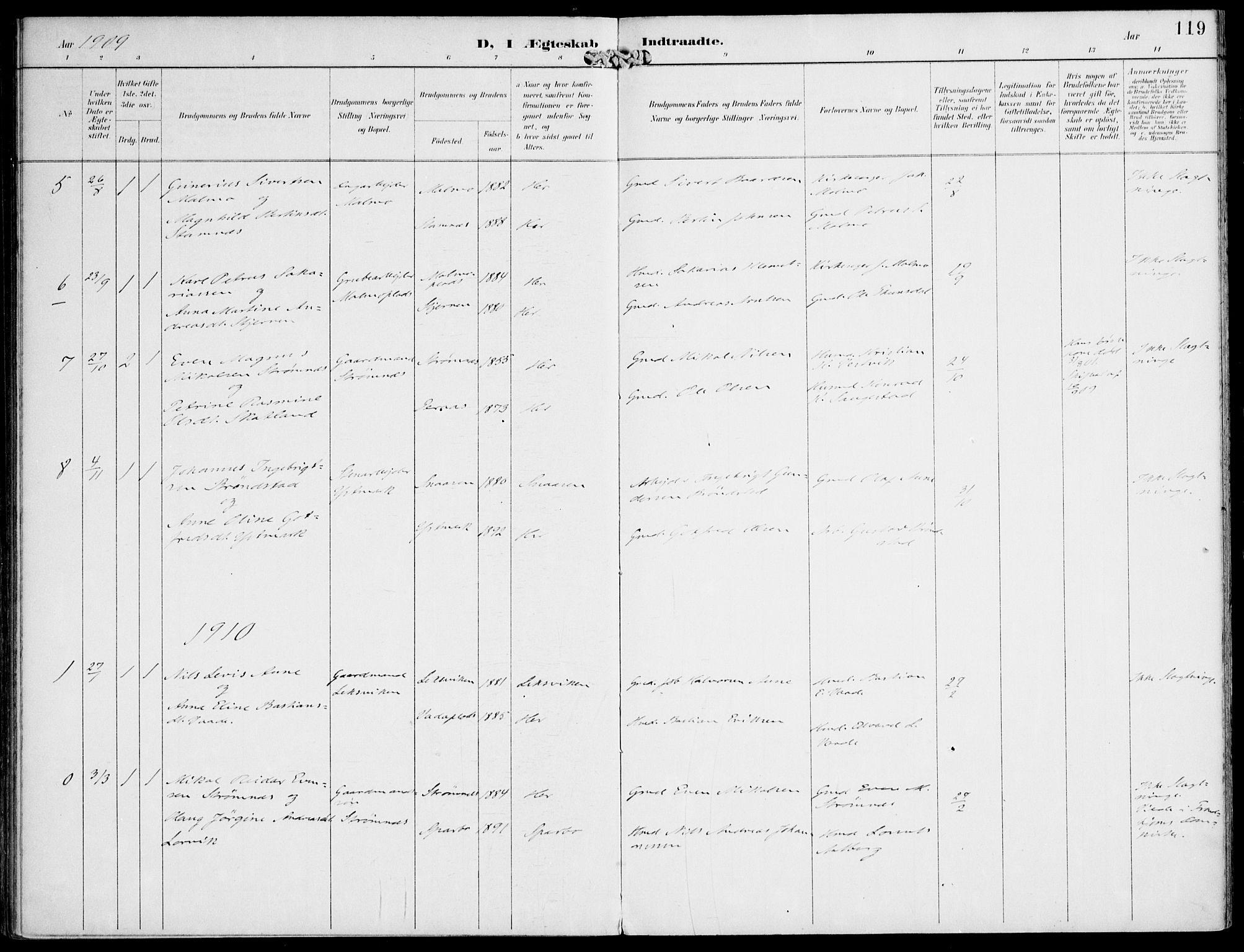 SAT, Ministerialprotokoller, klokkerbøker og fødselsregistre - Nord-Trøndelag, 745/L0430: Ministerialbok nr. 745A02, 1895-1913, s. 119