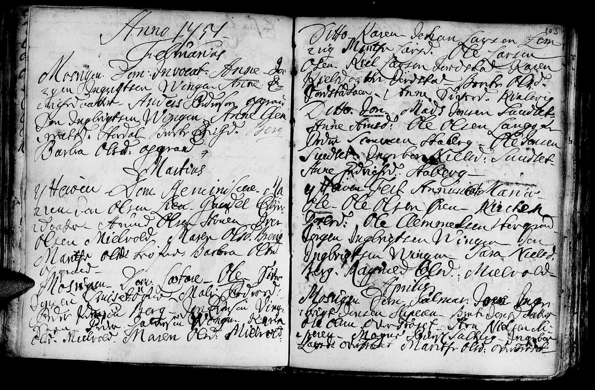 SAT, Ministerialprotokoller, klokkerbøker og fødselsregistre - Nord-Trøndelag, 722/L0215: Ministerialbok nr. 722A02, 1718-1755, s. 103