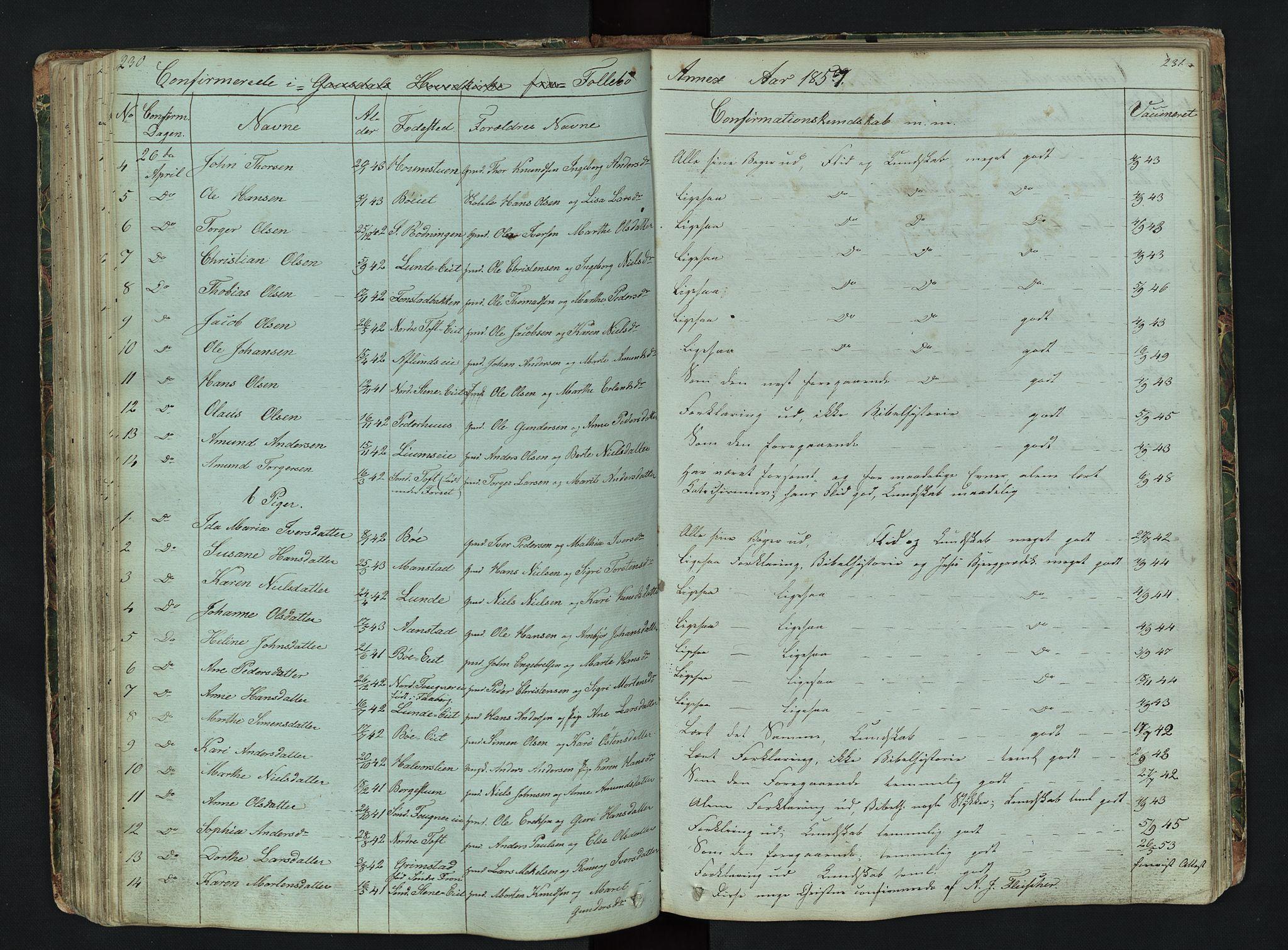 SAH, Gausdal prestekontor, Klokkerbok nr. 6, 1846-1893, s. 230-231