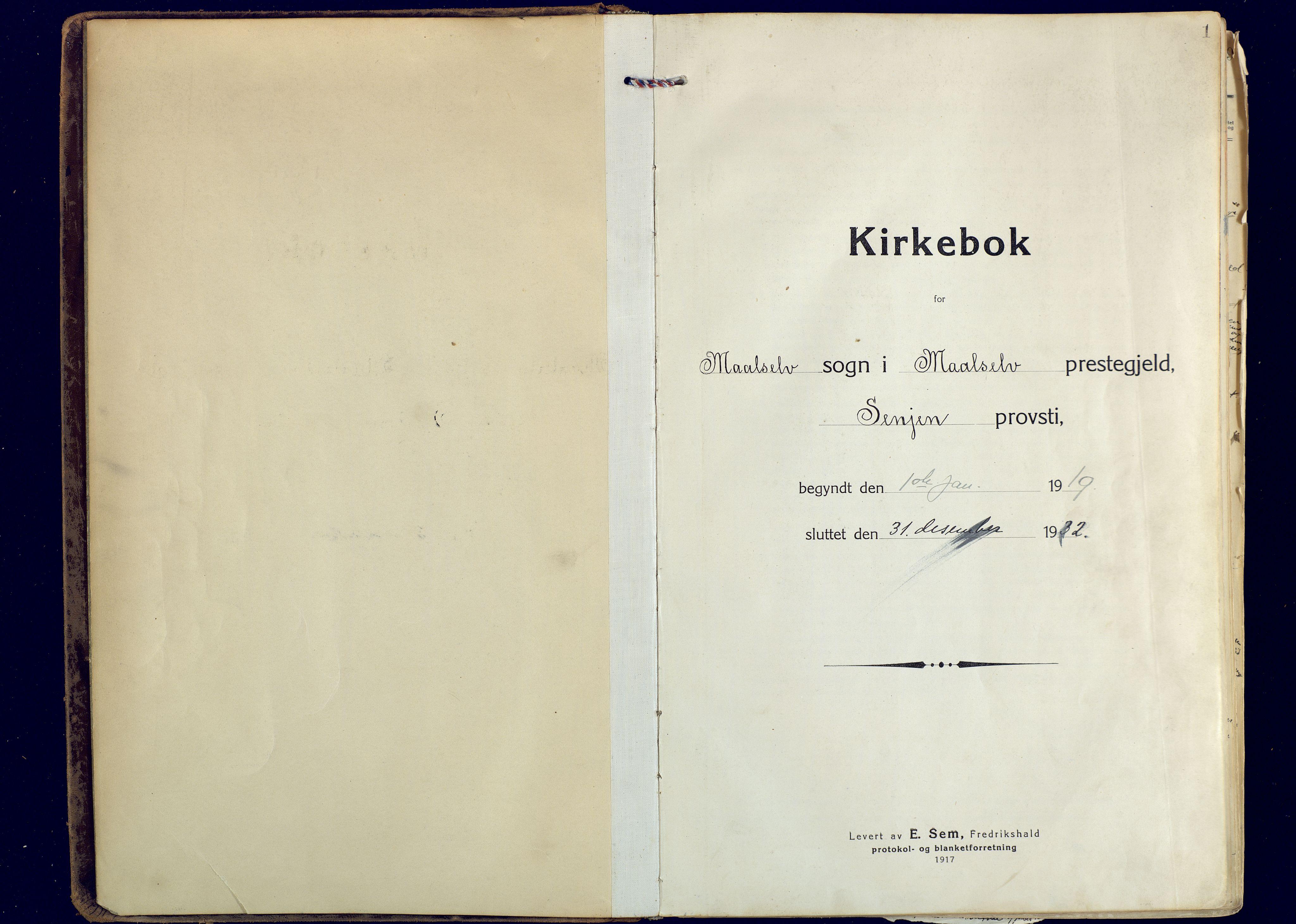 SATØ, Målselv sokneprestembete, Ministerialbok nr. 14, 1919-1932, s. 1