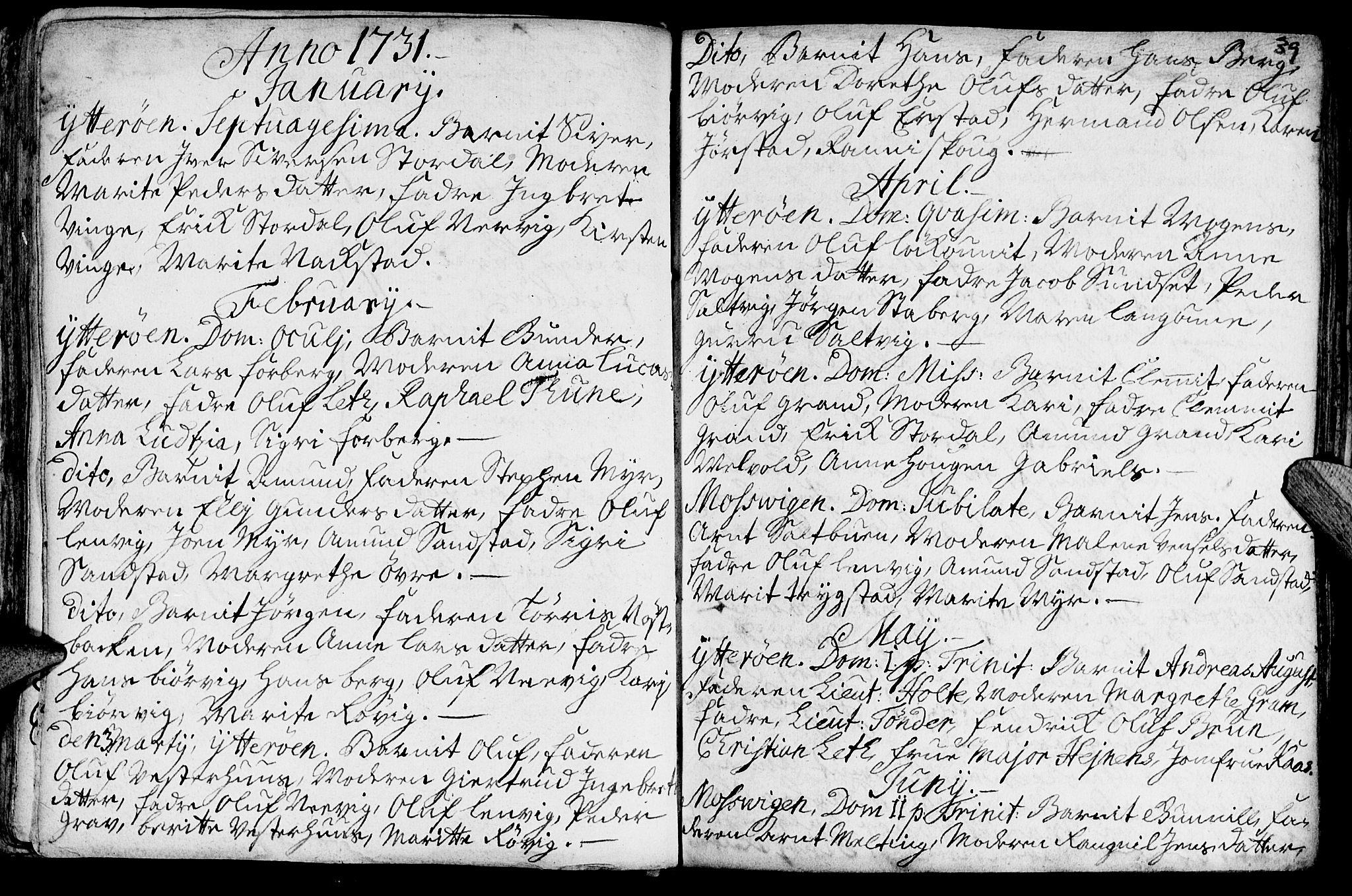 SAT, Ministerialprotokoller, klokkerbøker og fødselsregistre - Nord-Trøndelag, 722/L0215: Ministerialbok nr. 722A02, 1718-1755, s. 39