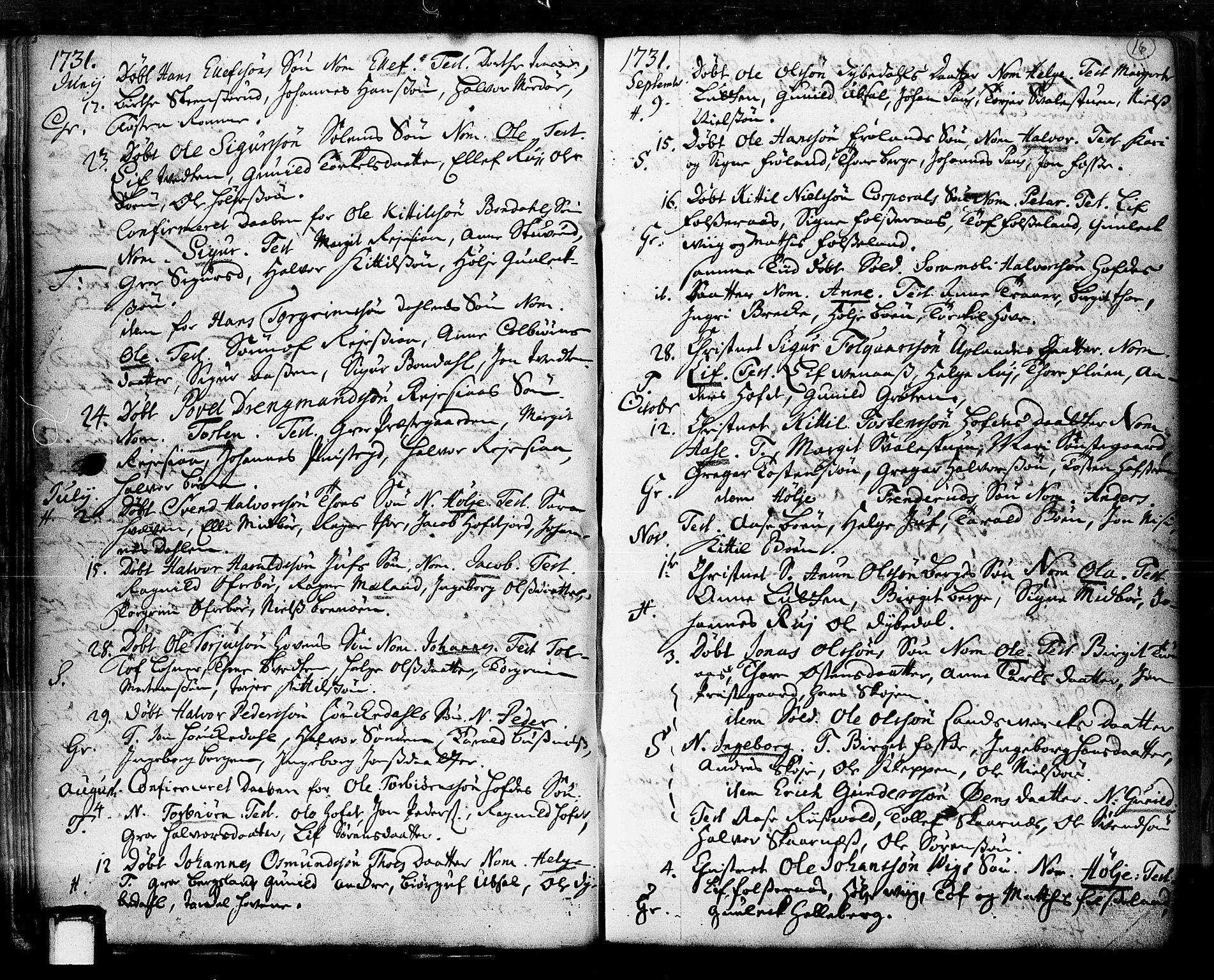 SAKO, Hjartdal kirkebøker, F/Fa/L0003: Ministerialbok nr. I 3, 1727-1775, s. 16