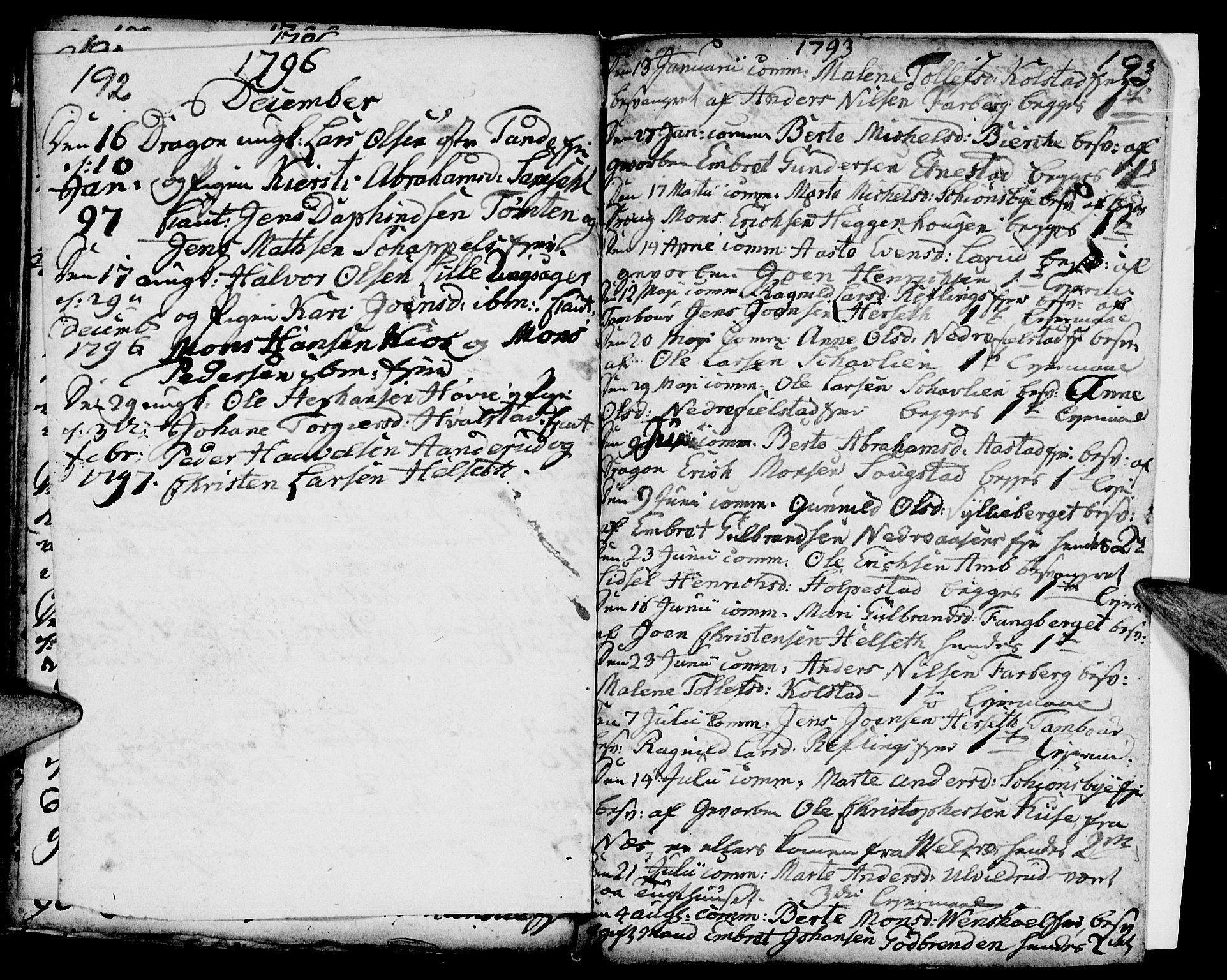 SAH, Ringsaker prestekontor, I/Ia/L0005/0006: Kladd til kirkebok nr. 1F, 1793-1796, s. 192-193