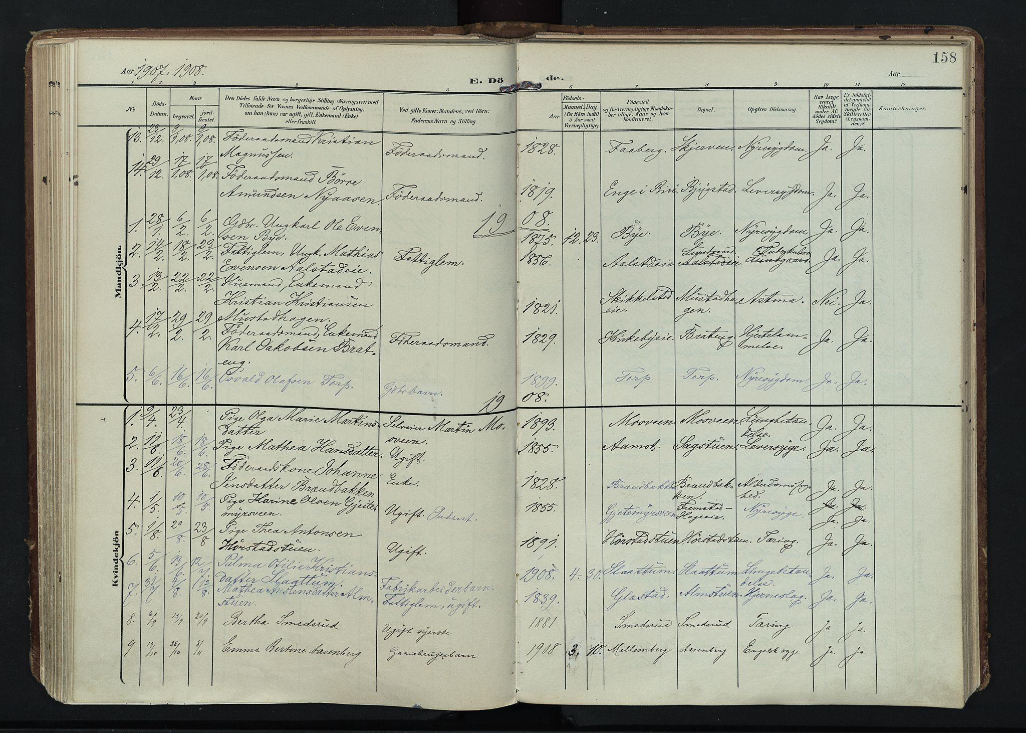 SAH, Vardal prestekontor, H/Ha/Haa/L0020: Ministerialbok nr. 20, 1907-1921, s. 158