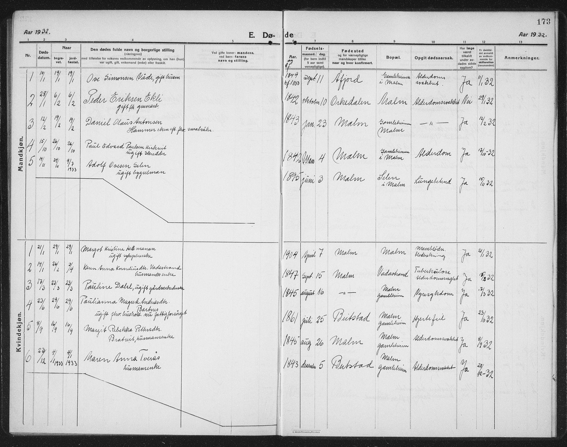 SAT, Ministerialprotokoller, klokkerbøker og fødselsregistre - Nord-Trøndelag, 745/L0434: Klokkerbok nr. 745C03, 1914-1937, s. 173