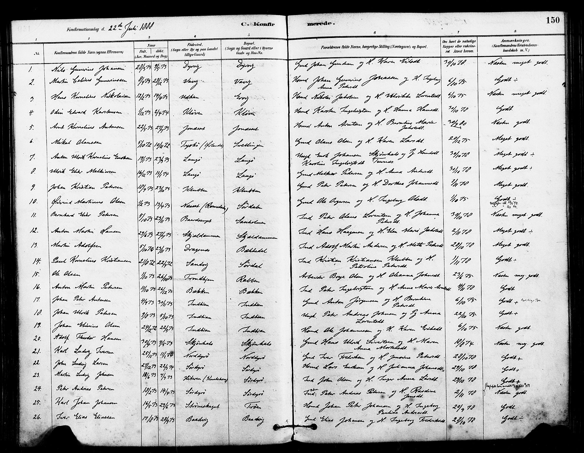 SAT, Ministerialprotokoller, klokkerbøker og fødselsregistre - Sør-Trøndelag, 640/L0578: Ministerialbok nr. 640A03, 1879-1889, s. 150