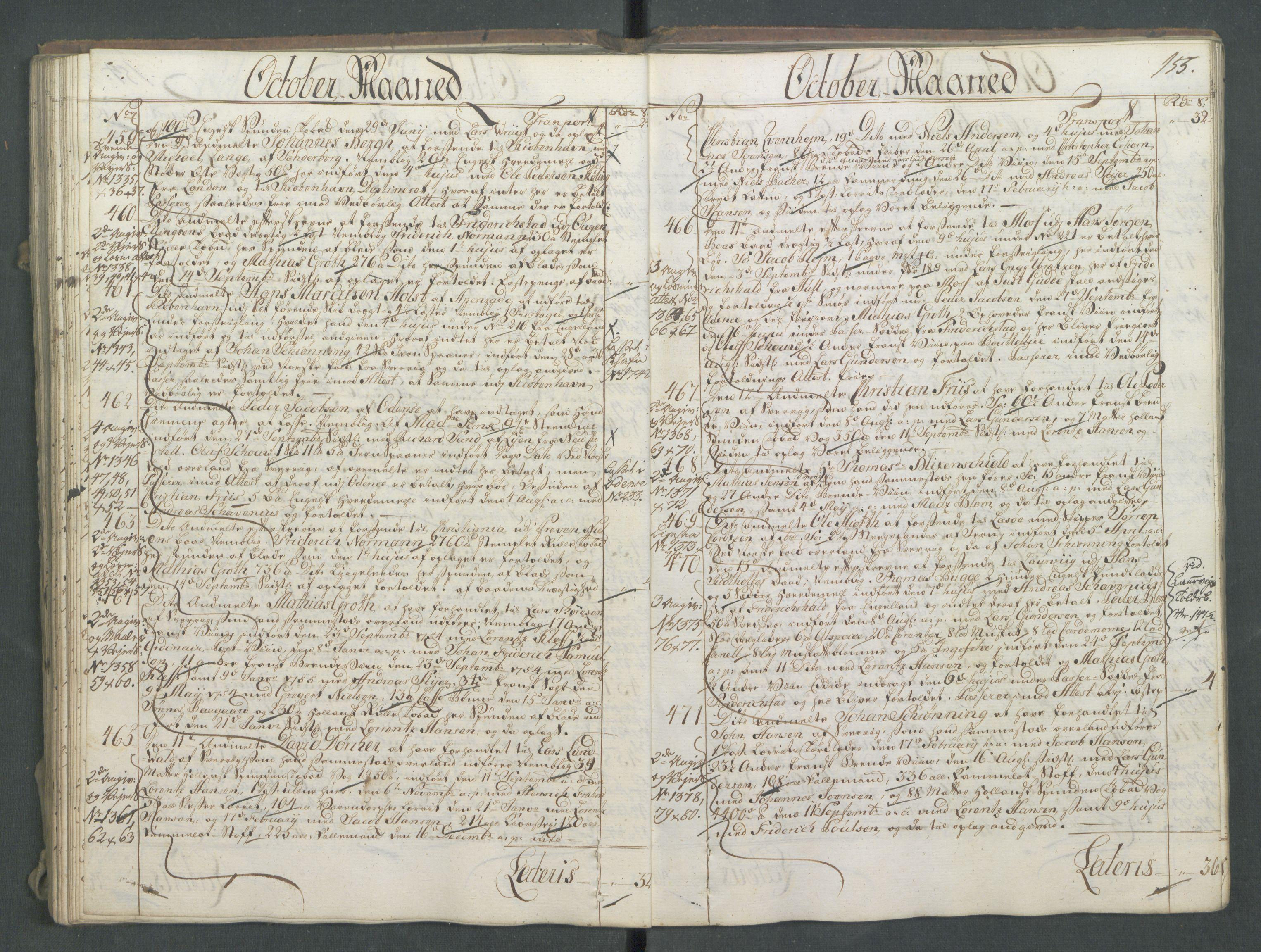 RA, Generaltollkammeret, tollregnskaper, R01/L0028: Tollregnskaper Fredrikshald, 1756, s. 155