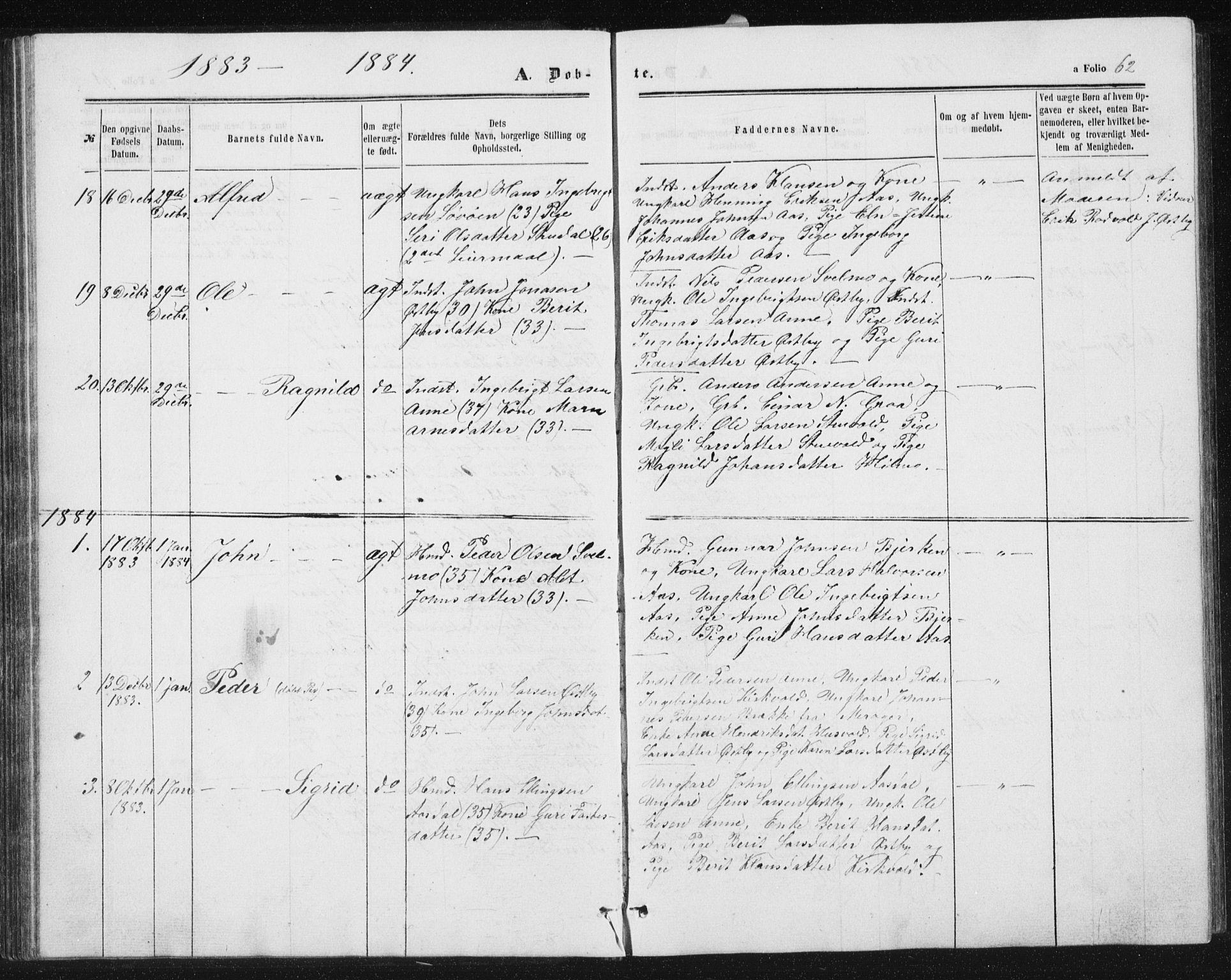 SAT, Ministerialprotokoller, klokkerbøker og fødselsregistre - Sør-Trøndelag, 698/L1166: Klokkerbok nr. 698C03, 1861-1887, s. 62
