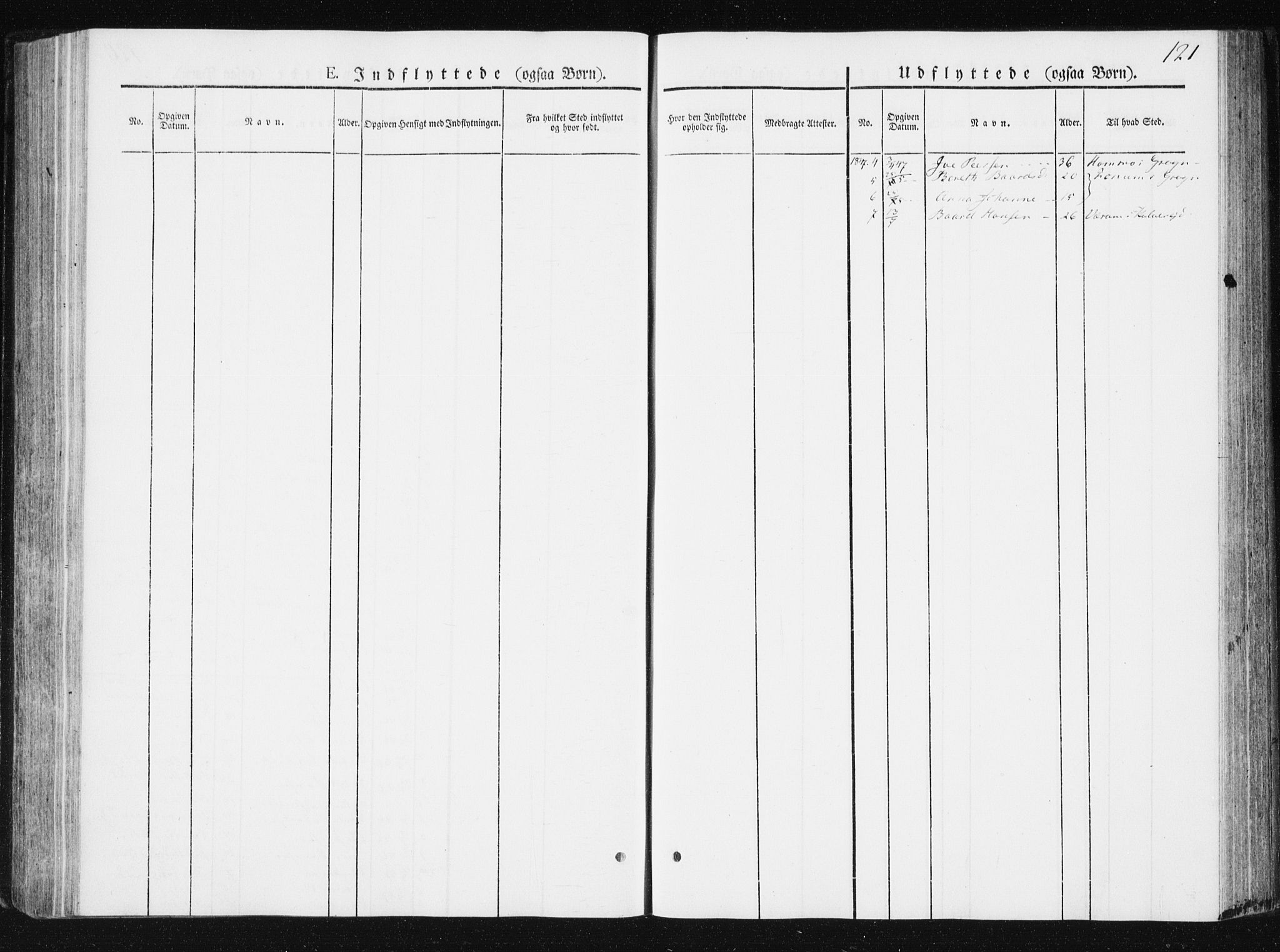 SAT, Ministerialprotokoller, klokkerbøker og fødselsregistre - Nord-Trøndelag, 749/L0470: Ministerialbok nr. 749A04, 1834-1853, s. 121