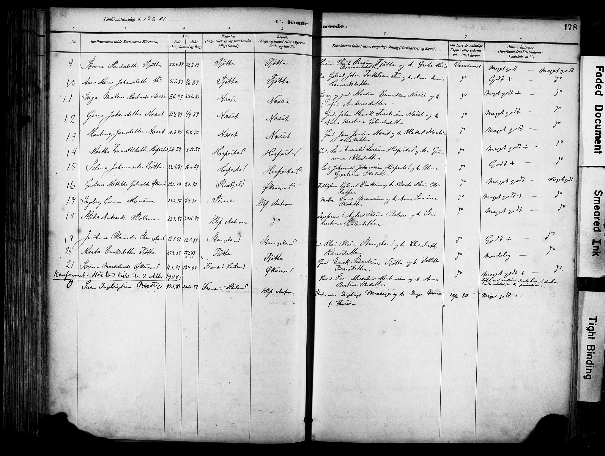 SAST, Klepp sokneprestkontor, 30BA/L0009: Ministerialbok nr. A 7, 1886-1915, s. 178