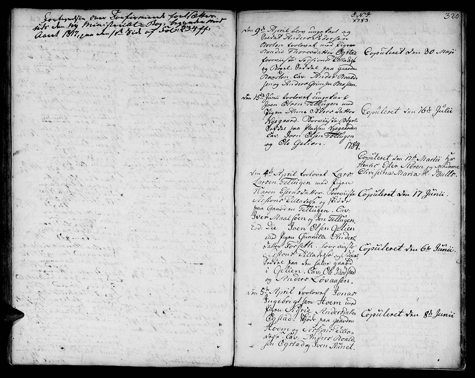 SAT, Ministerialprotokoller, klokkerbøker og fødselsregistre - Sør-Trøndelag, 618/L0438: Ministerialbok nr. 618A03, 1783-1815, s. 320