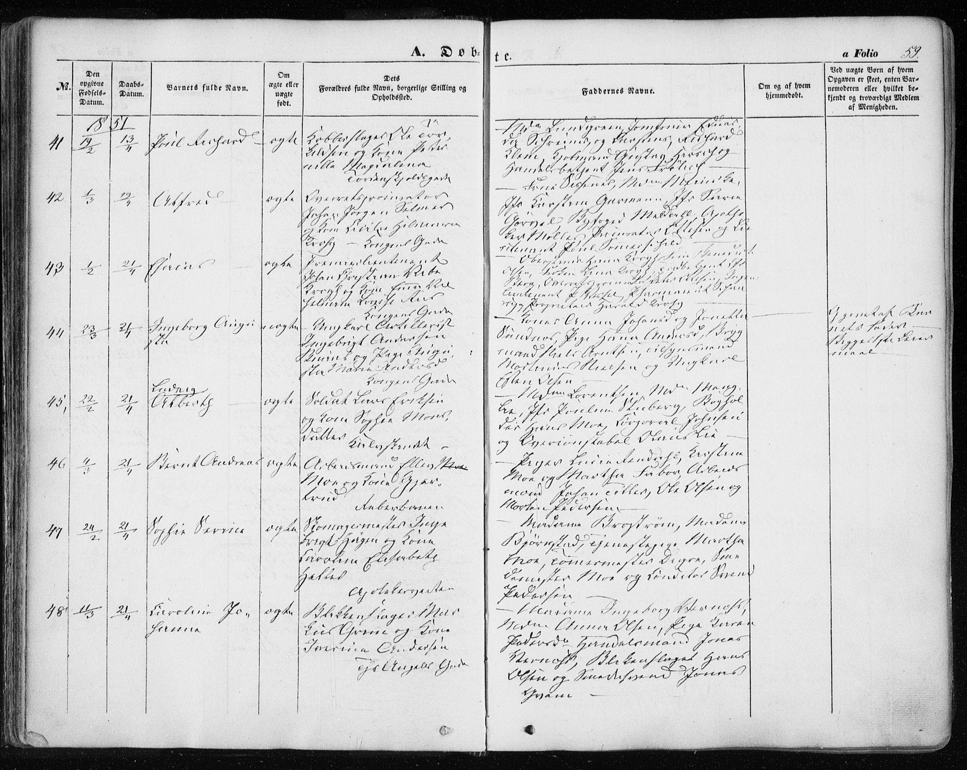 SAT, Ministerialprotokoller, klokkerbøker og fødselsregistre - Sør-Trøndelag, 601/L0051: Ministerialbok nr. 601A19, 1848-1857, s. 59