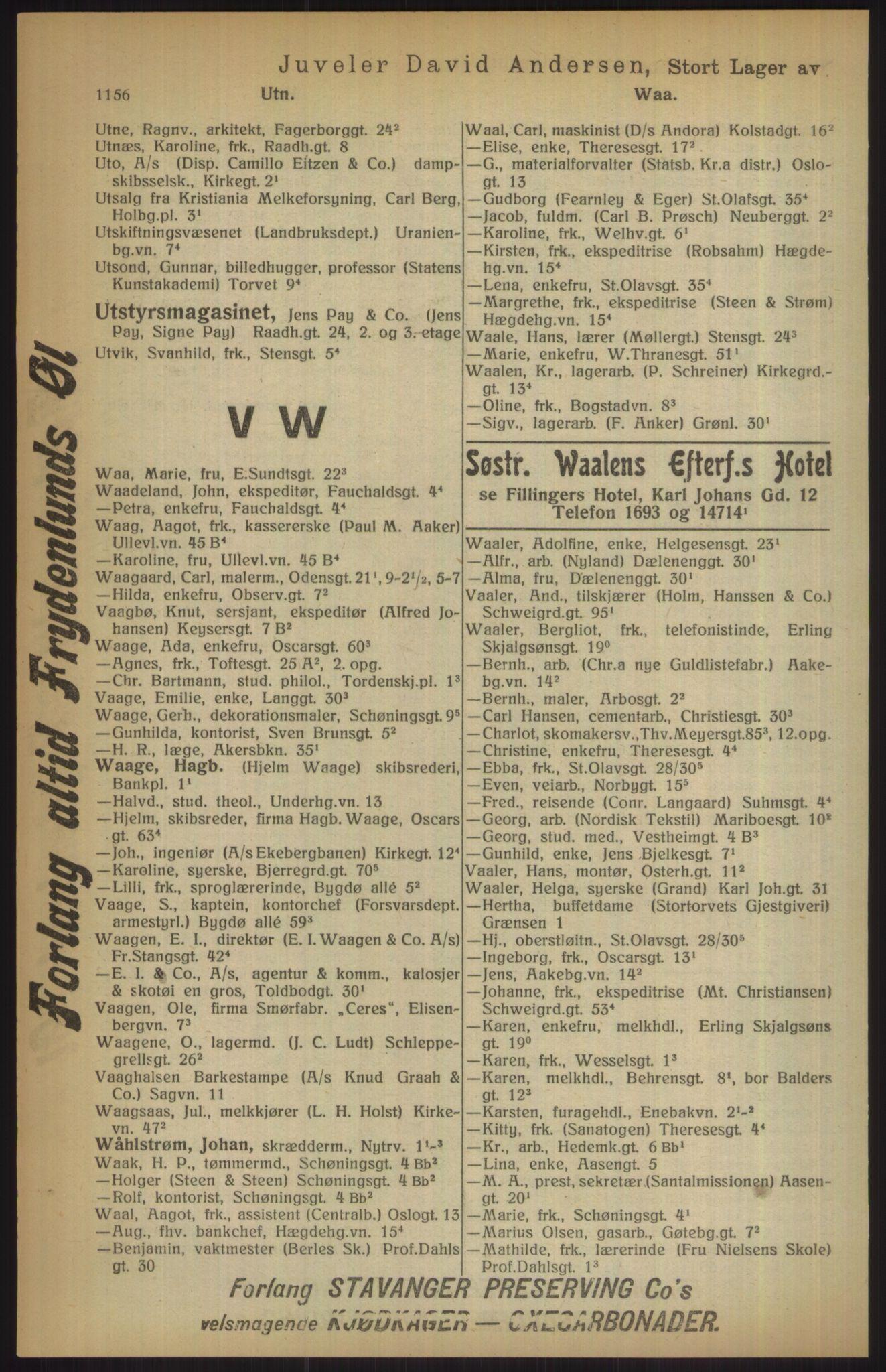 RA, Kristiania adressebok (publikasjon)*, 1915, s. 1156