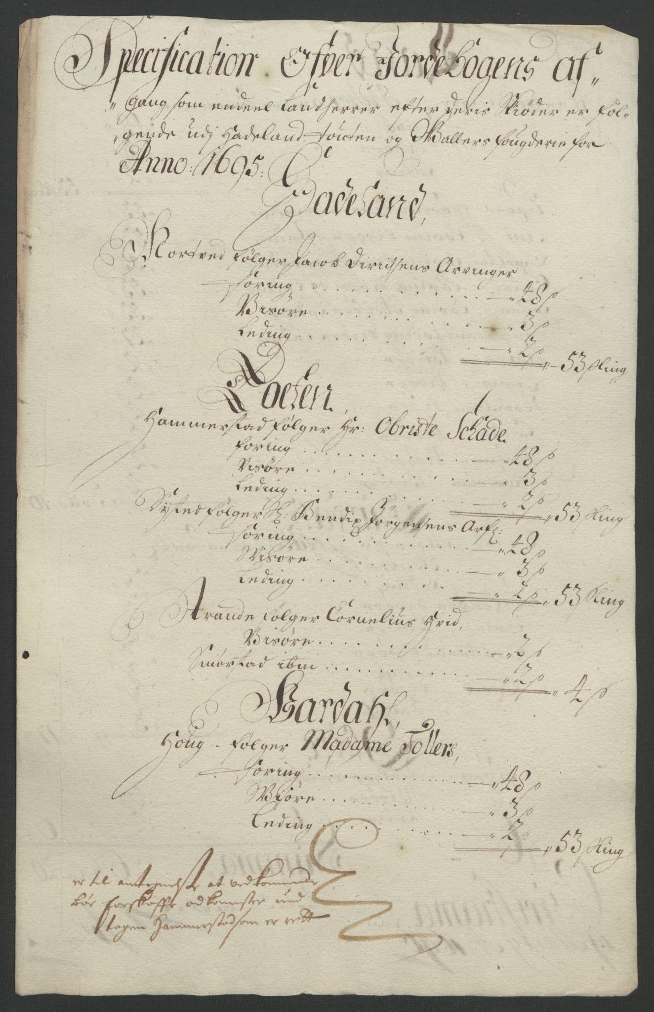 RA, Rentekammeret inntil 1814, Reviderte regnskaper, Fogderegnskap, R18/L1293: Fogderegnskap Hadeland, Toten og Valdres, 1695, s. 166