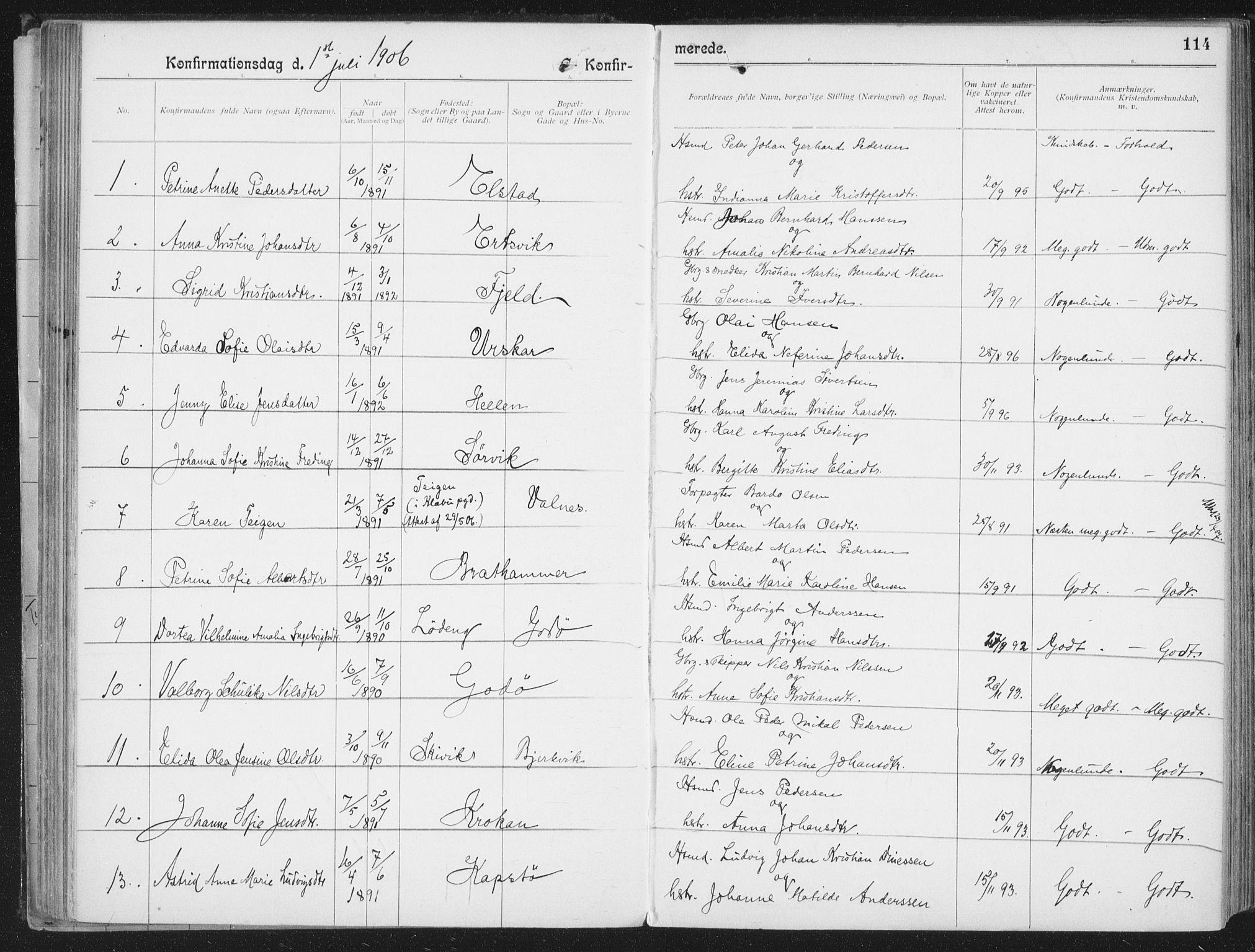 SAT, Ministerialprotokoller, klokkerbøker og fødselsregistre - Nordland, 804/L0081: Ministerialbok nr. 804A02, 1901-1915, s. 114