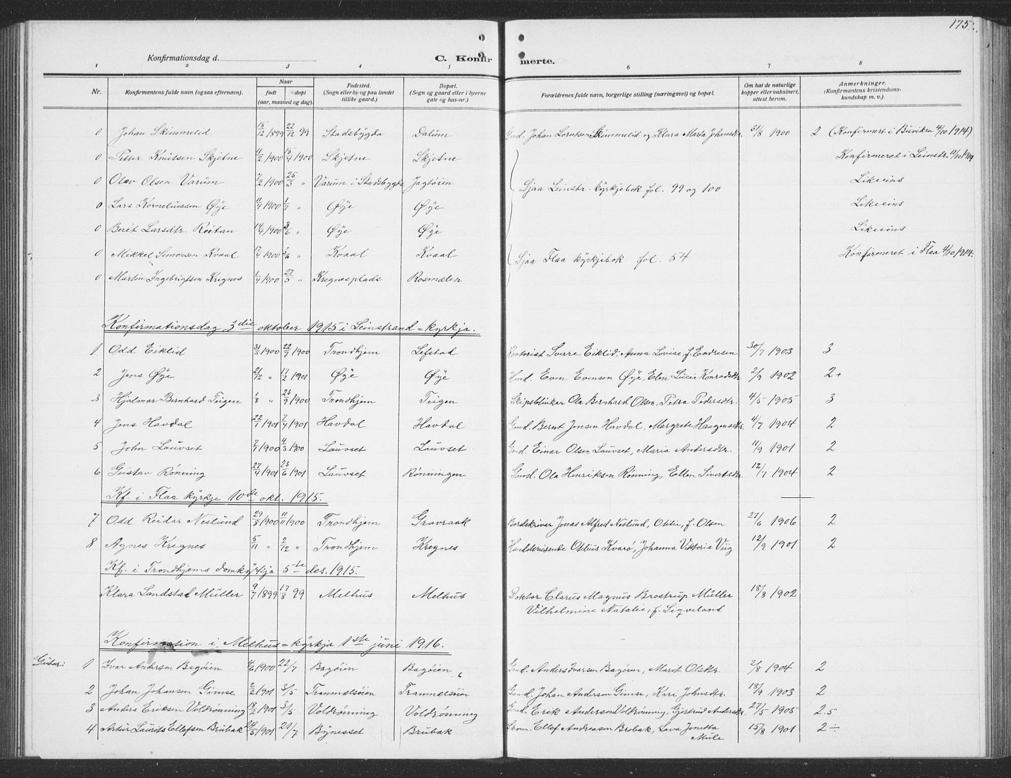 SAT, Ministerialprotokoller, klokkerbøker og fødselsregistre - Sør-Trøndelag, 691/L1095: Klokkerbok nr. 691C06, 1912-1933, s. 175