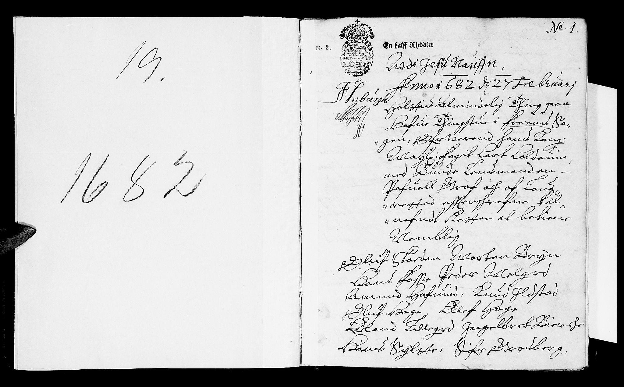 SAH, Sorenskriverier i Gudbrandsdalen, G/Gb/Gba/L0018: Tingbok - Nord-Gudbrandsdal, 1682, s. 0b-1a