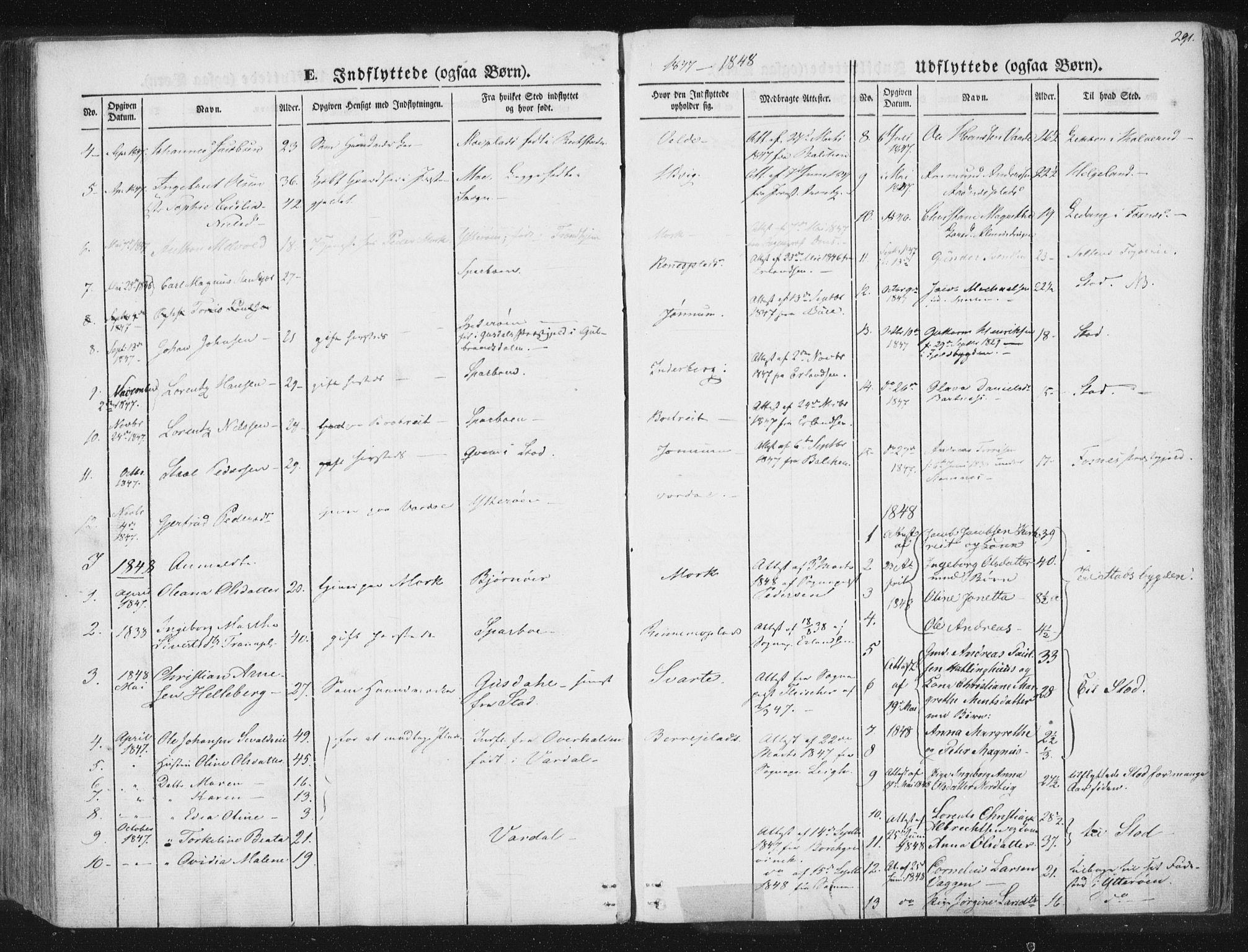 SAT, Ministerialprotokoller, klokkerbøker og fødselsregistre - Nord-Trøndelag, 741/L0392: Ministerialbok nr. 741A06, 1836-1848, s. 291