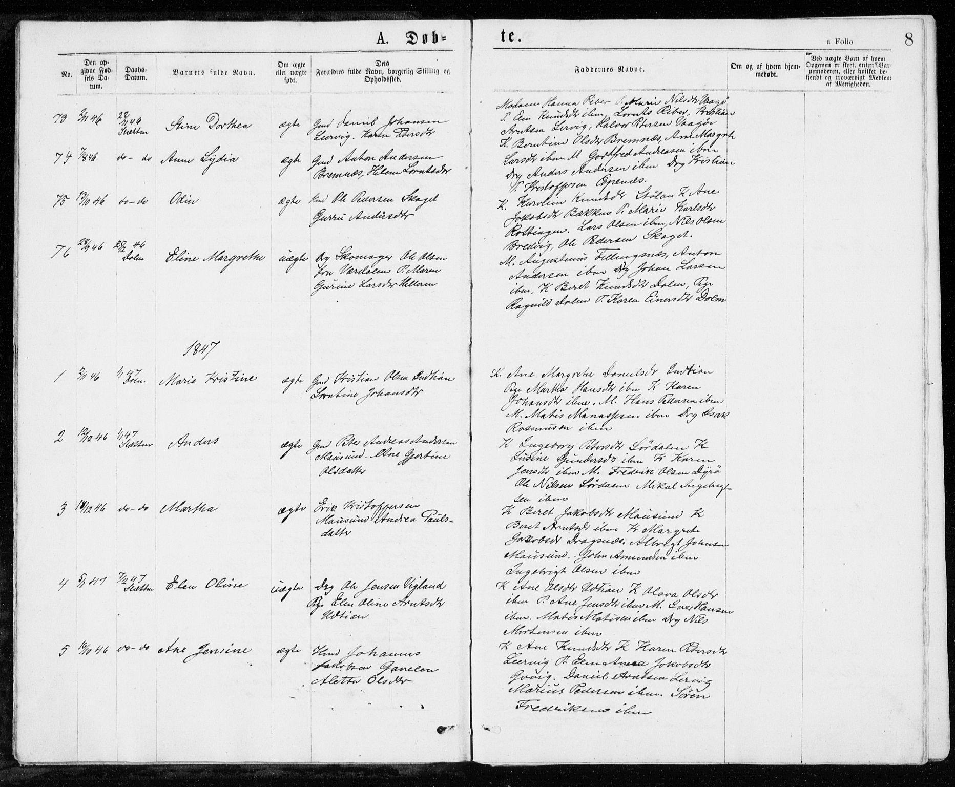 SAT, Ministerialprotokoller, klokkerbøker og fødselsregistre - Sør-Trøndelag, 640/L0576: Ministerialbok nr. 640A01, 1846-1876, s. 8