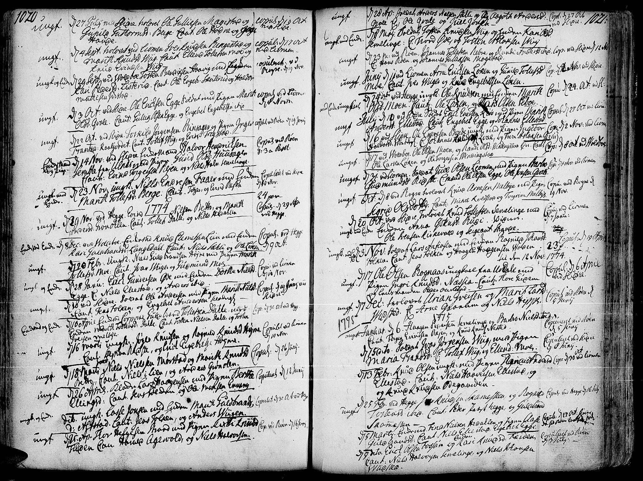 SAH, Slidre prestekontor, Ministerialbok nr. 1, 1724-1814, s. 1020-1021