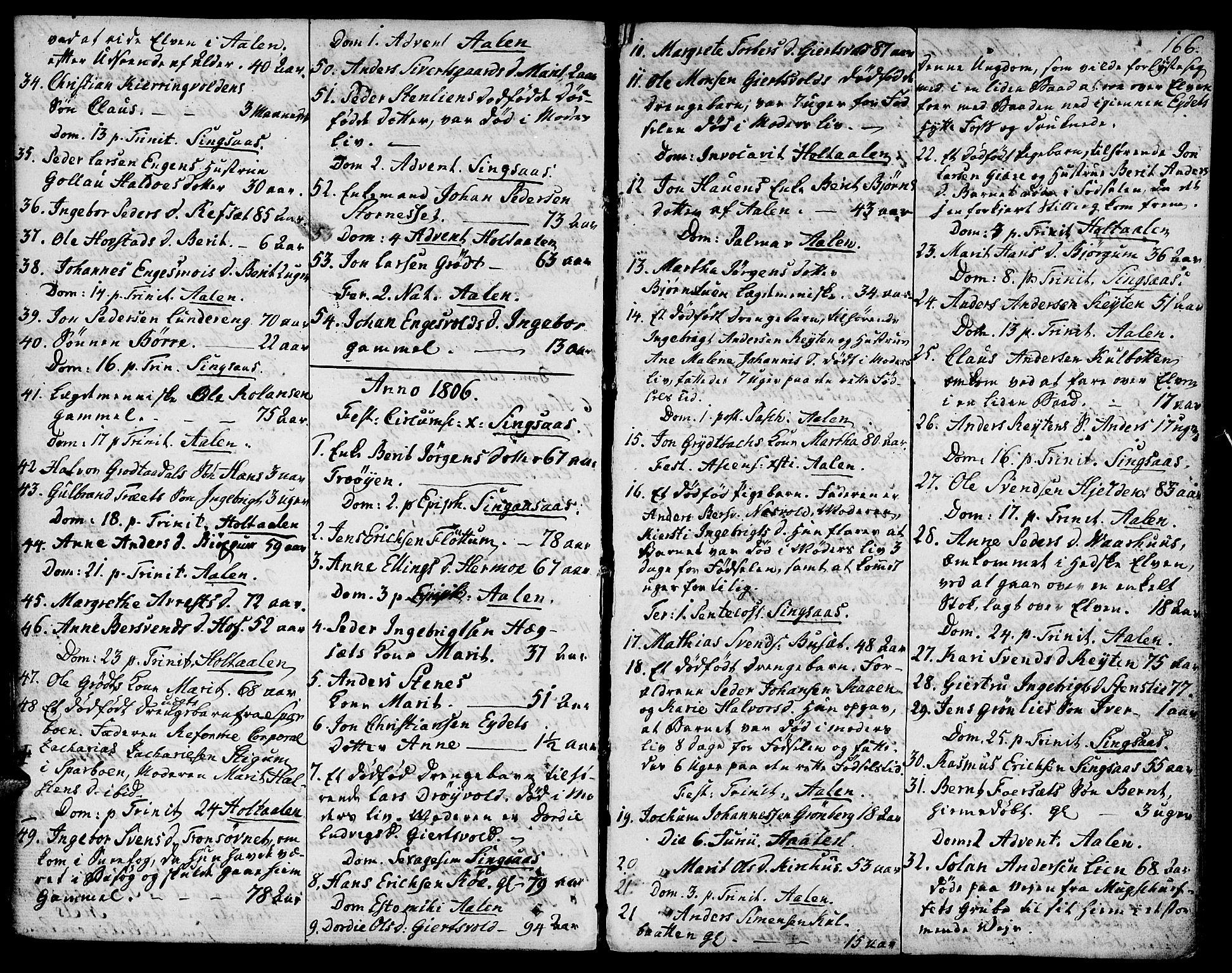 SAT, Ministerialprotokoller, klokkerbøker og fødselsregistre - Sør-Trøndelag, 685/L0953: Ministerialbok nr. 685A02, 1805-1816, s. 166