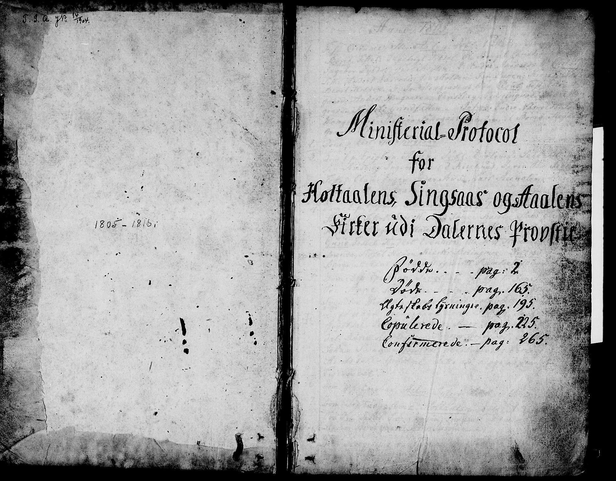 SAT, Ministerialprotokoller, klokkerbøker og fødselsregistre - Sør-Trøndelag, 685/L0953: Ministerialbok nr. 685A02, 1805-1816, s. 1