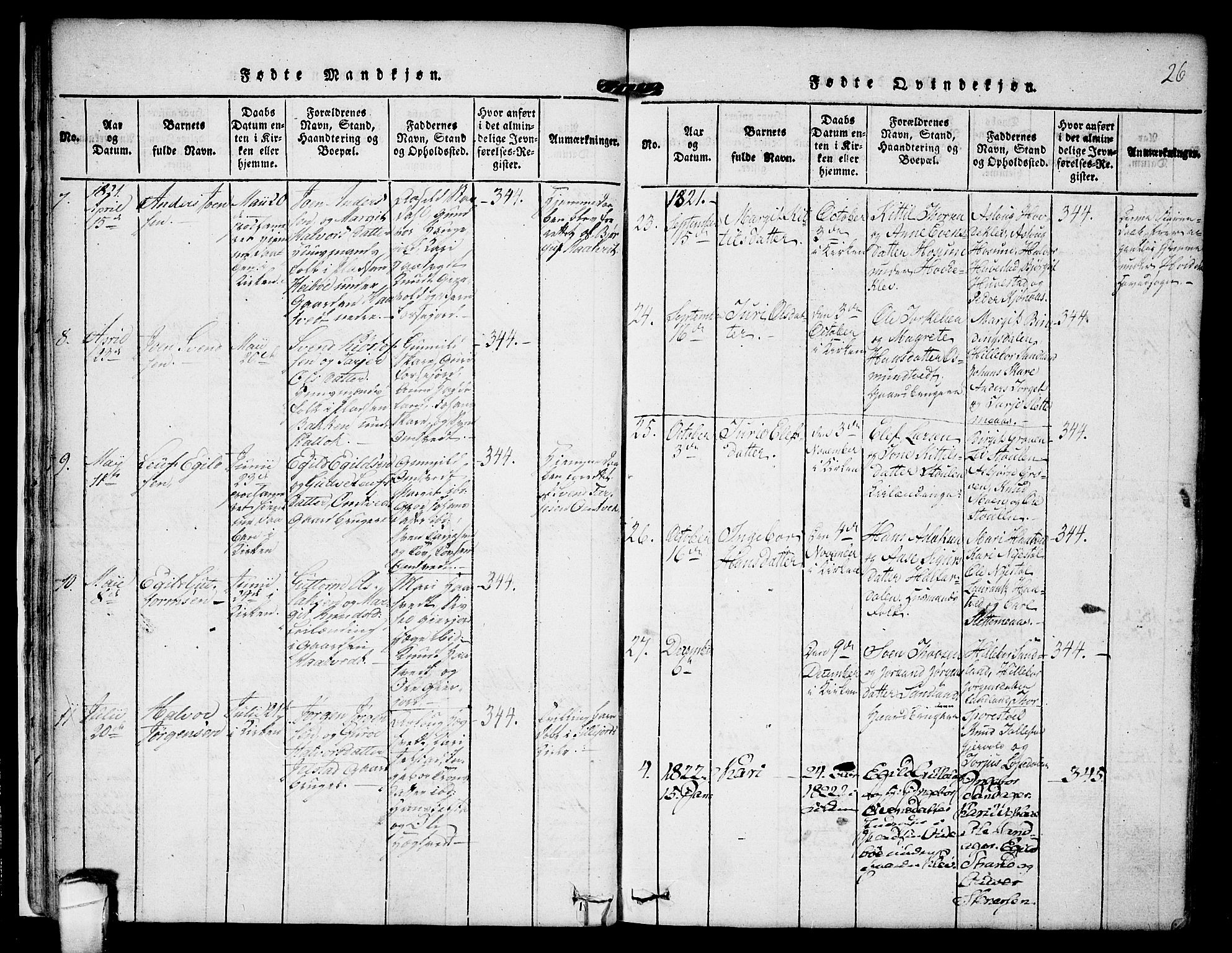 SAKO, Kviteseid kirkebøker, F/Fb/L0001: Ministerialbok nr. II 1, 1815-1836, s. 26
