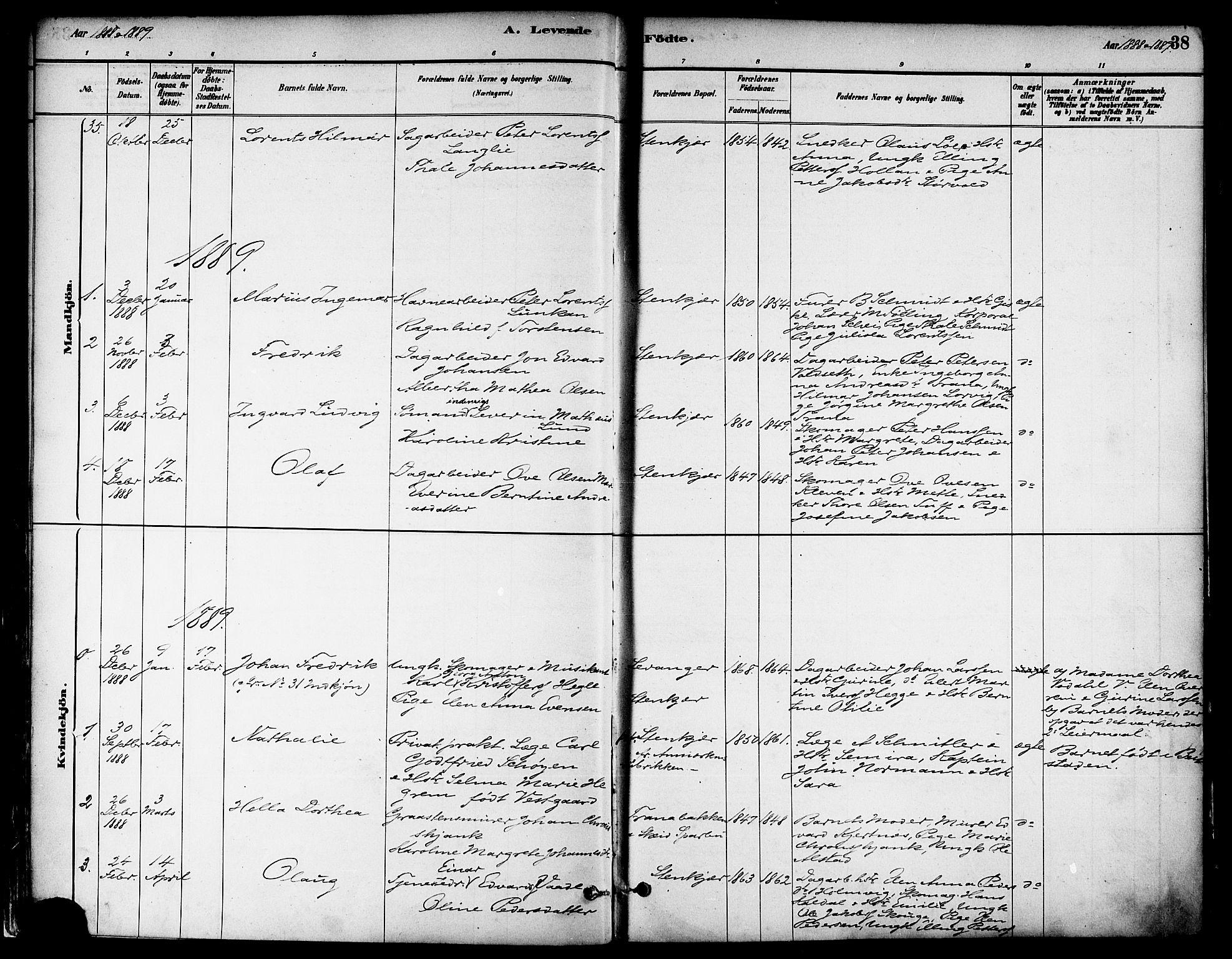 SAT, Ministerialprotokoller, klokkerbøker og fødselsregistre - Nord-Trøndelag, 739/L0371: Ministerialbok nr. 739A03, 1881-1895, s. 38