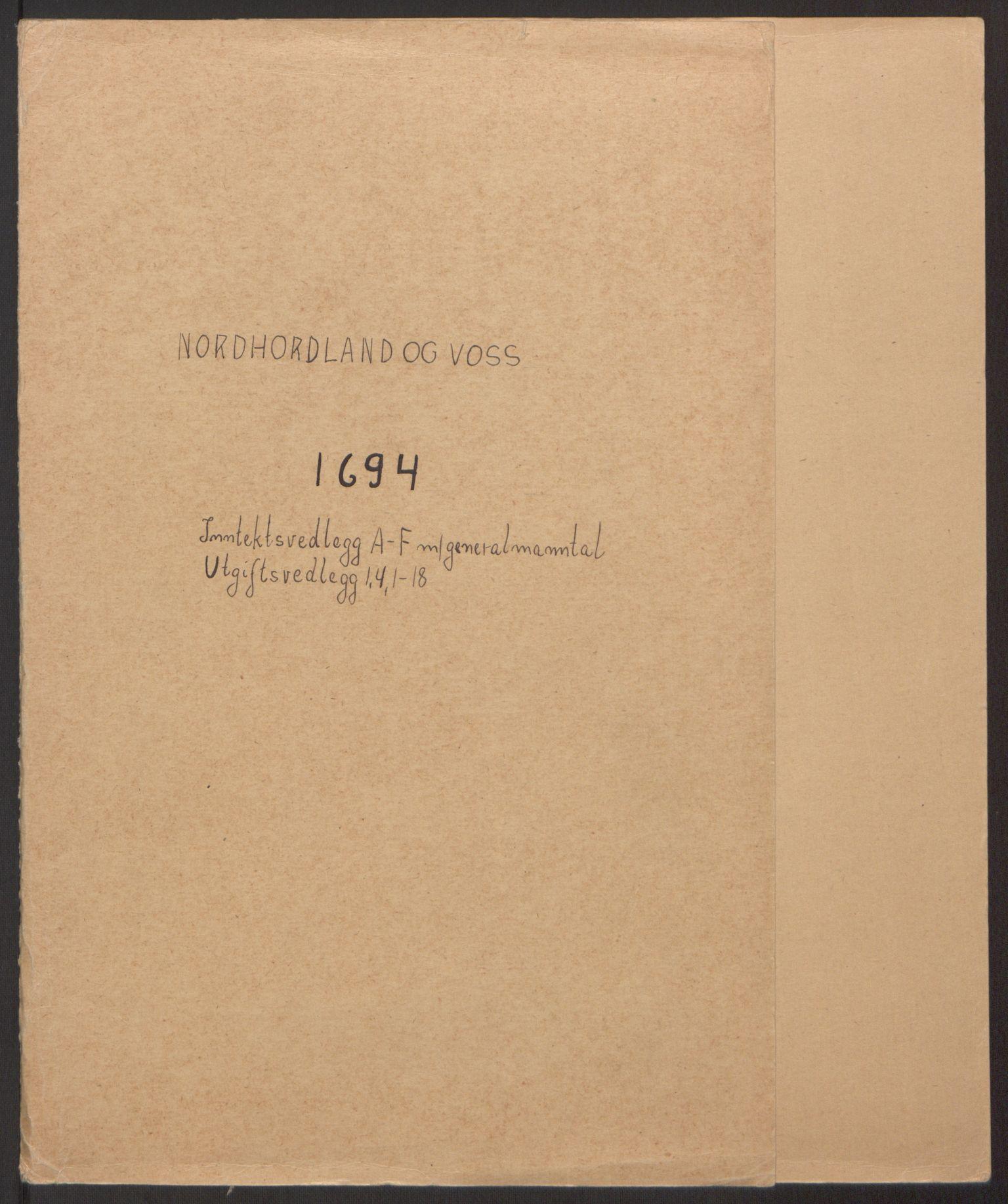 RA, Rentekammeret inntil 1814, Reviderte regnskaper, Fogderegnskap, R51/L3182: Fogderegnskap Nordhordland og Voss, 1694, s. 2