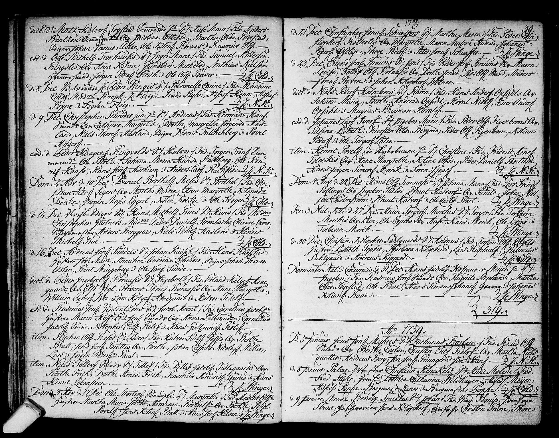 SAKO, Kongsberg kirkebøker, F/Fa/L0004: Ministerialbok nr. I 4, 1756-1768, s. 39
