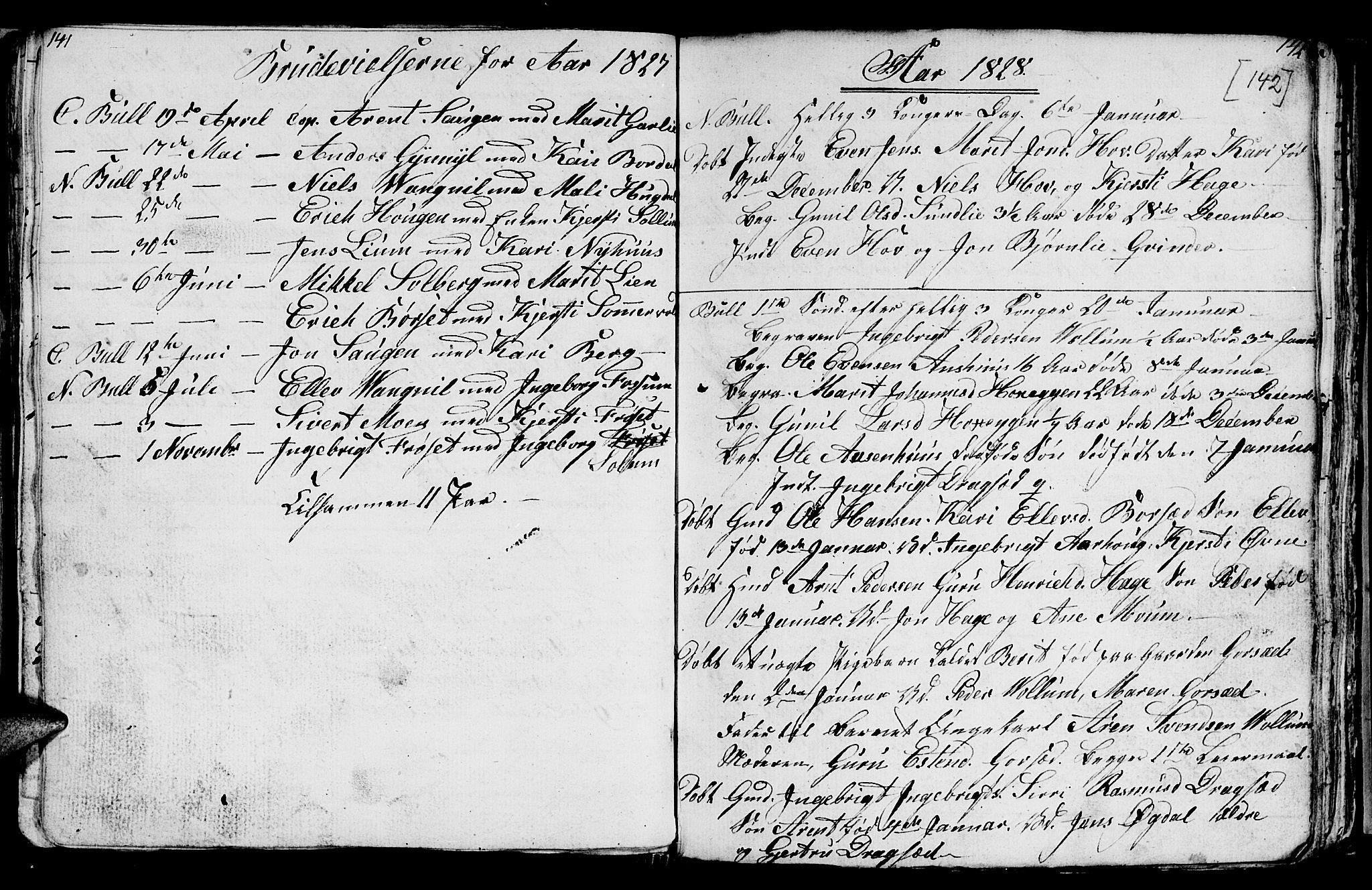 SAT, Ministerialprotokoller, klokkerbøker og fødselsregistre - Sør-Trøndelag, 689/L1042: Klokkerbok nr. 689C01, 1812-1841, s. 141-142