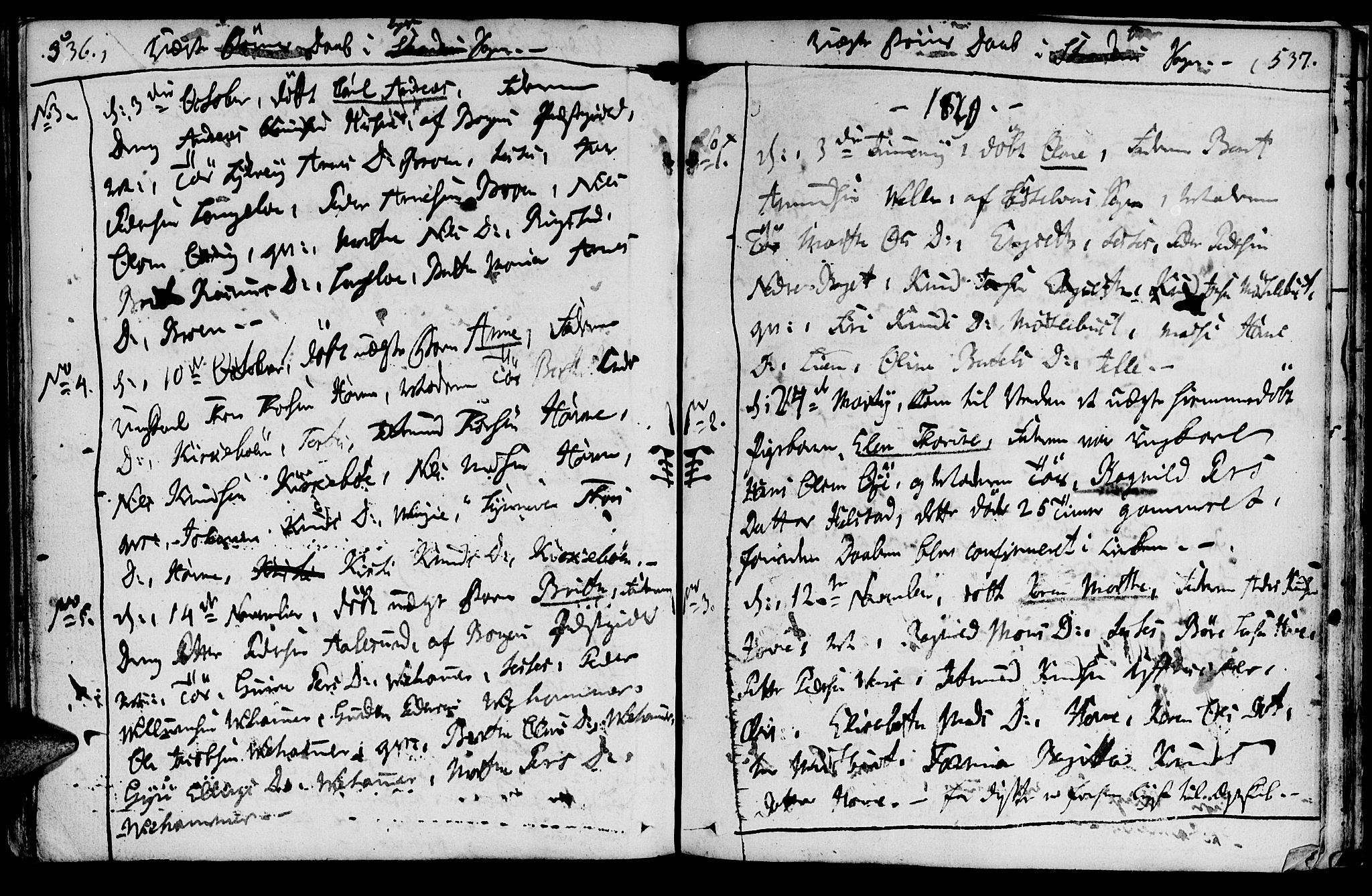 SAT, Ministerialprotokoller, klokkerbøker og fødselsregistre - Møre og Romsdal, 520/L0272: Ministerialbok nr. 520A02, 1802-1827, s. 536-537