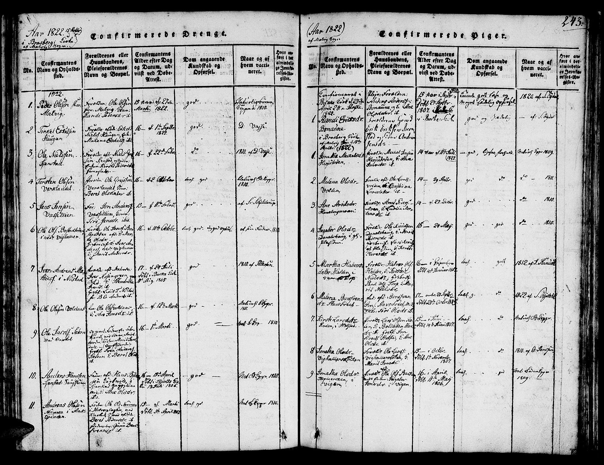 SAT, Ministerialprotokoller, klokkerbøker og fødselsregistre - Sør-Trøndelag, 616/L0420: Klokkerbok nr. 616C03, 1817-1835, s. 243