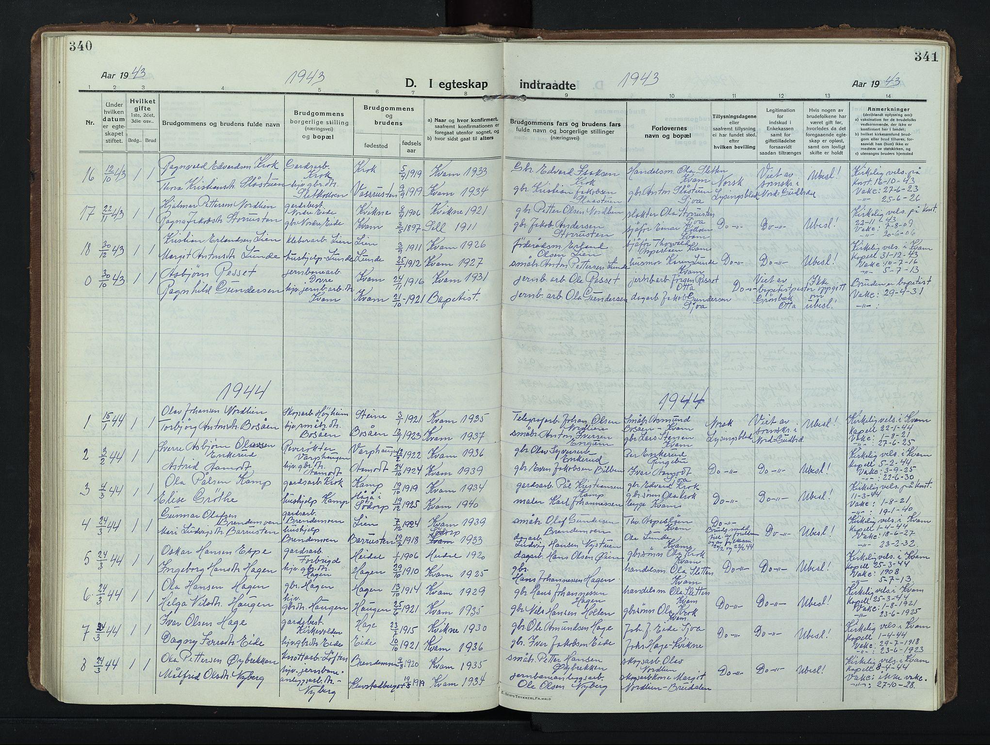 SAH, Nord-Fron prestekontor, Klokkerbok nr. 8, 1915-1948, s. 340-341