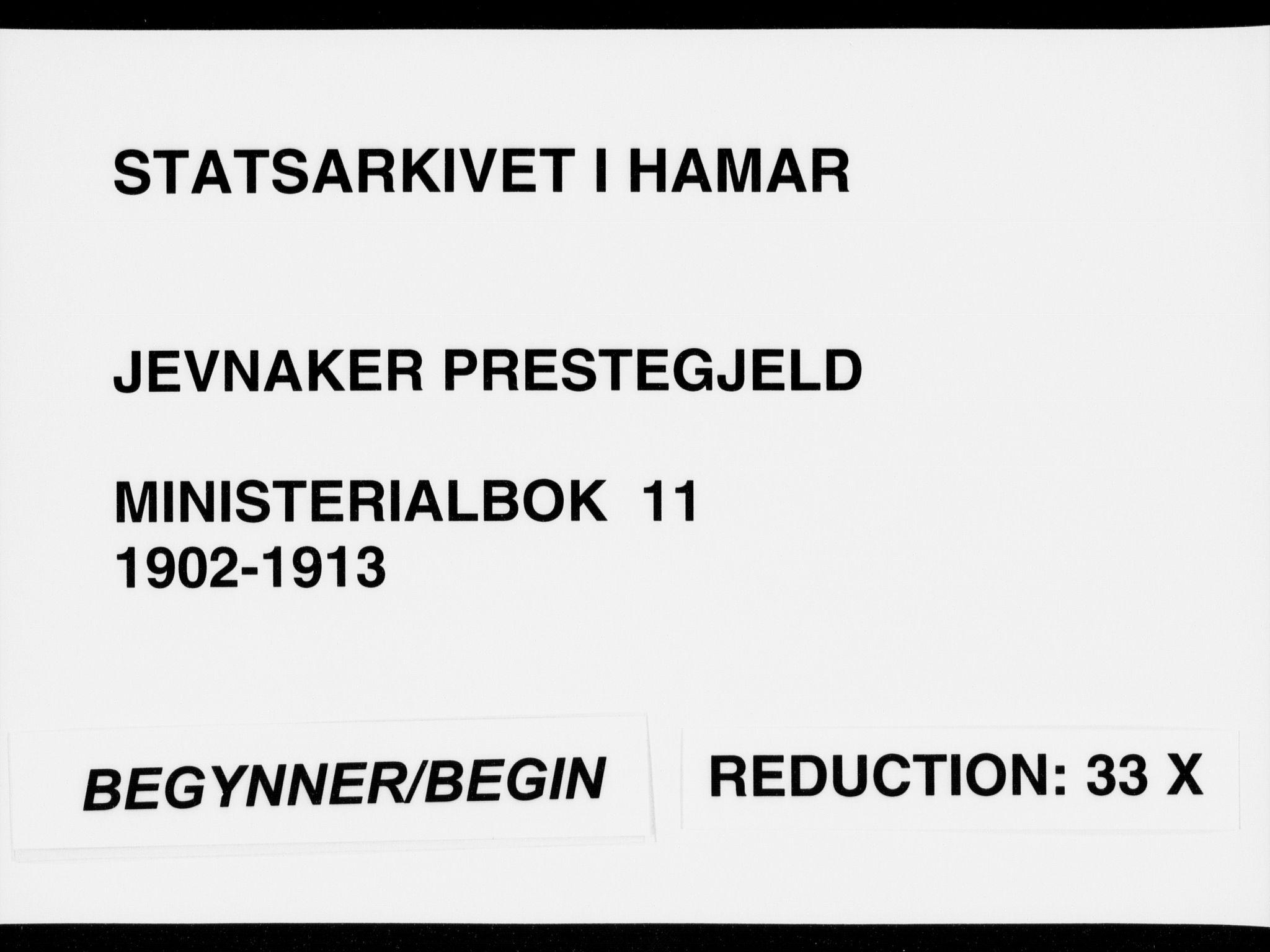 SAH, Jevnaker prestekontor, Ministerialbok nr. 11, 1902-1913