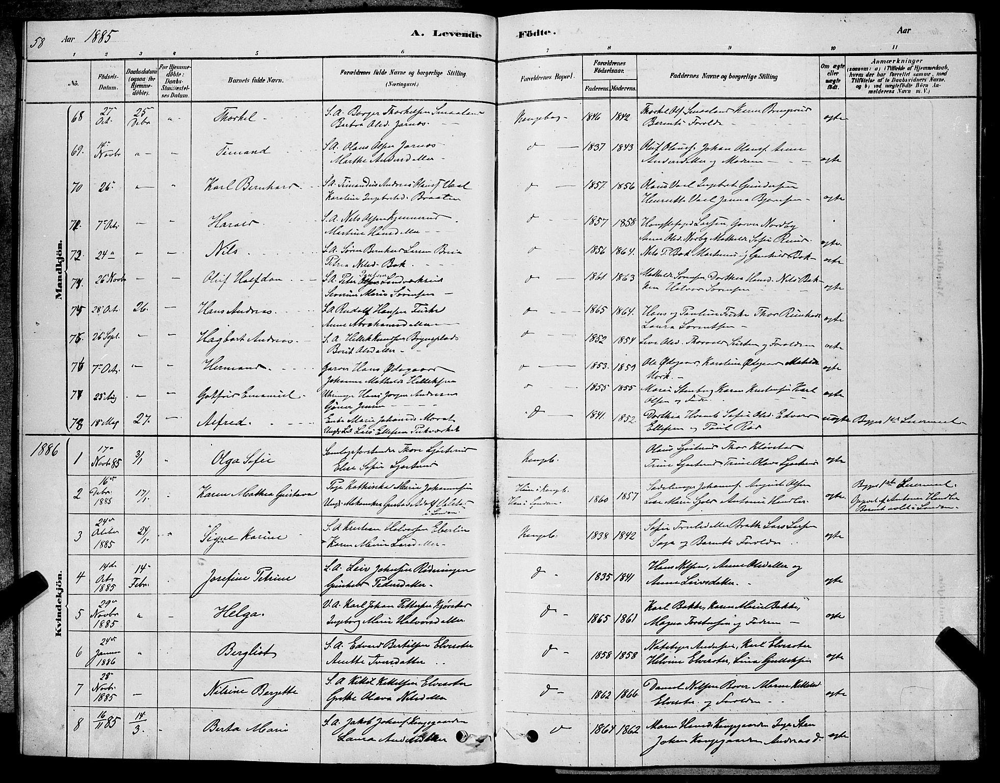 SAKO, Kongsberg kirkebøker, G/Ga/L0005: Klokkerbok nr. 5, 1878-1889, s. 58