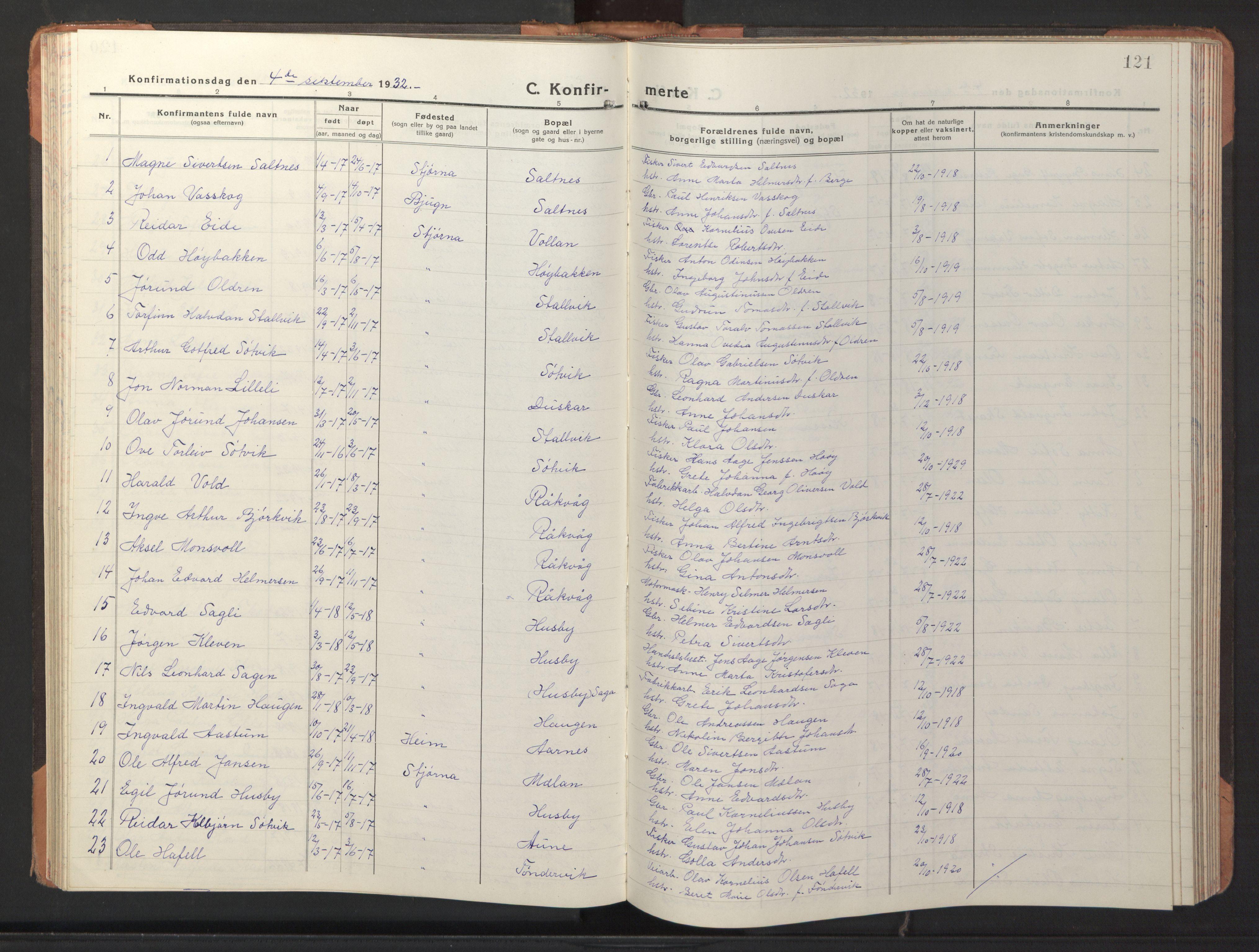 SAT, Ministerialprotokoller, klokkerbøker og fødselsregistre - Sør-Trøndelag, 653/L0658: Klokkerbok nr. 653C02, 1919-1947, s. 121