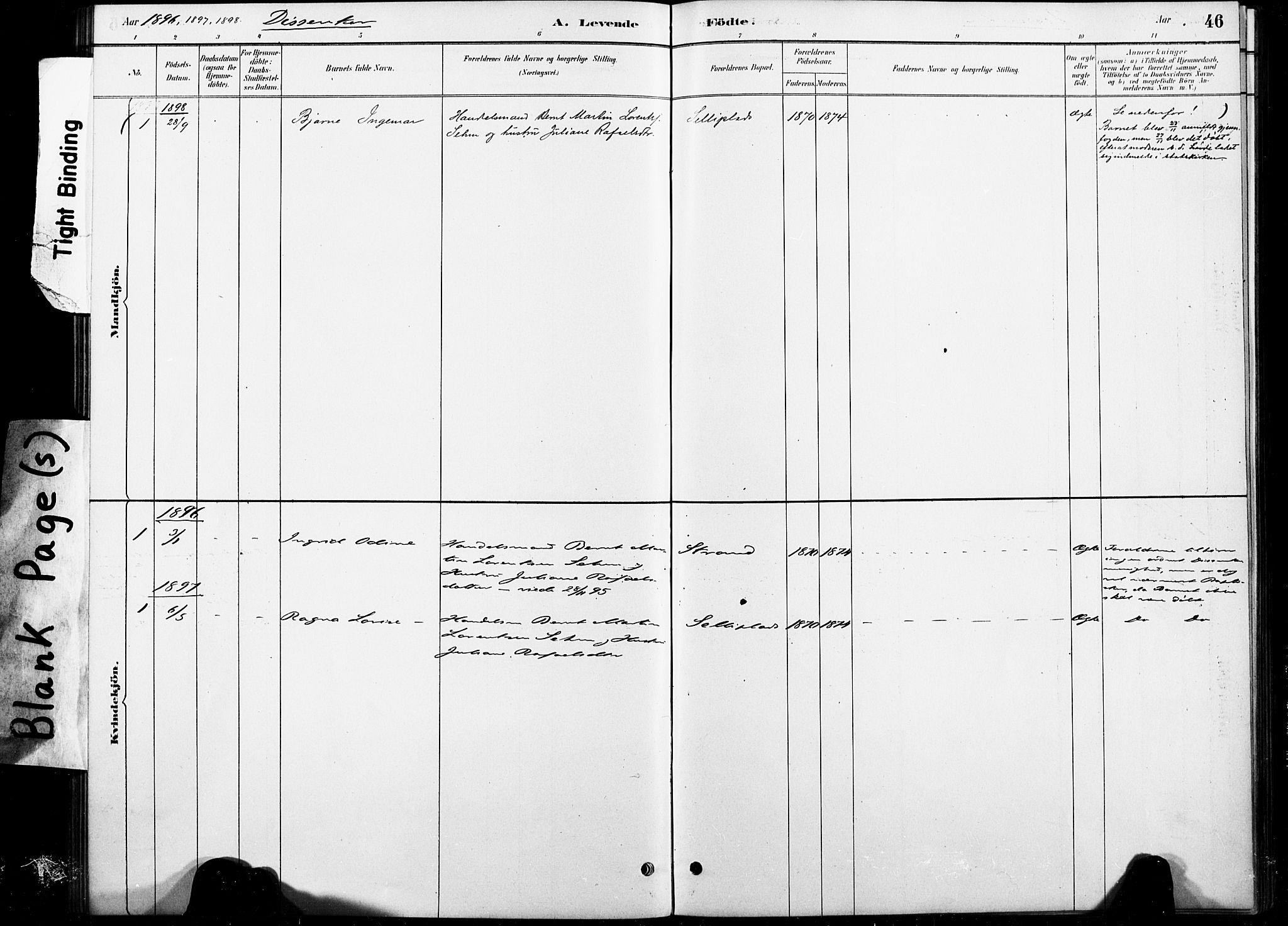 SAT, Ministerialprotokoller, klokkerbøker og fødselsregistre - Nord-Trøndelag, 738/L0364: Ministerialbok nr. 738A01, 1884-1902, s. 46