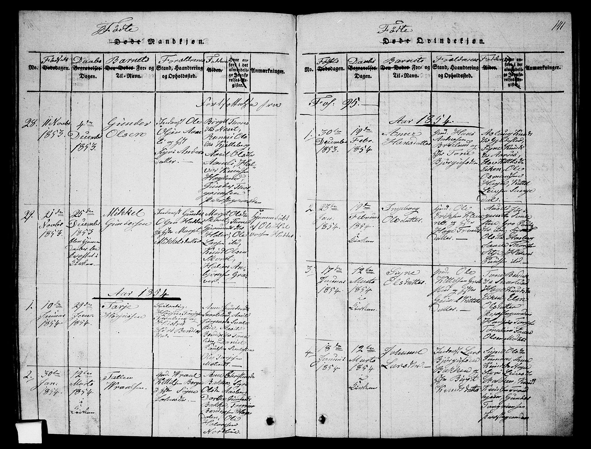SAKO, Fyresdal kirkebøker, G/Ga/L0002: Klokkerbok nr. I 2, 1815-1857, s. 141