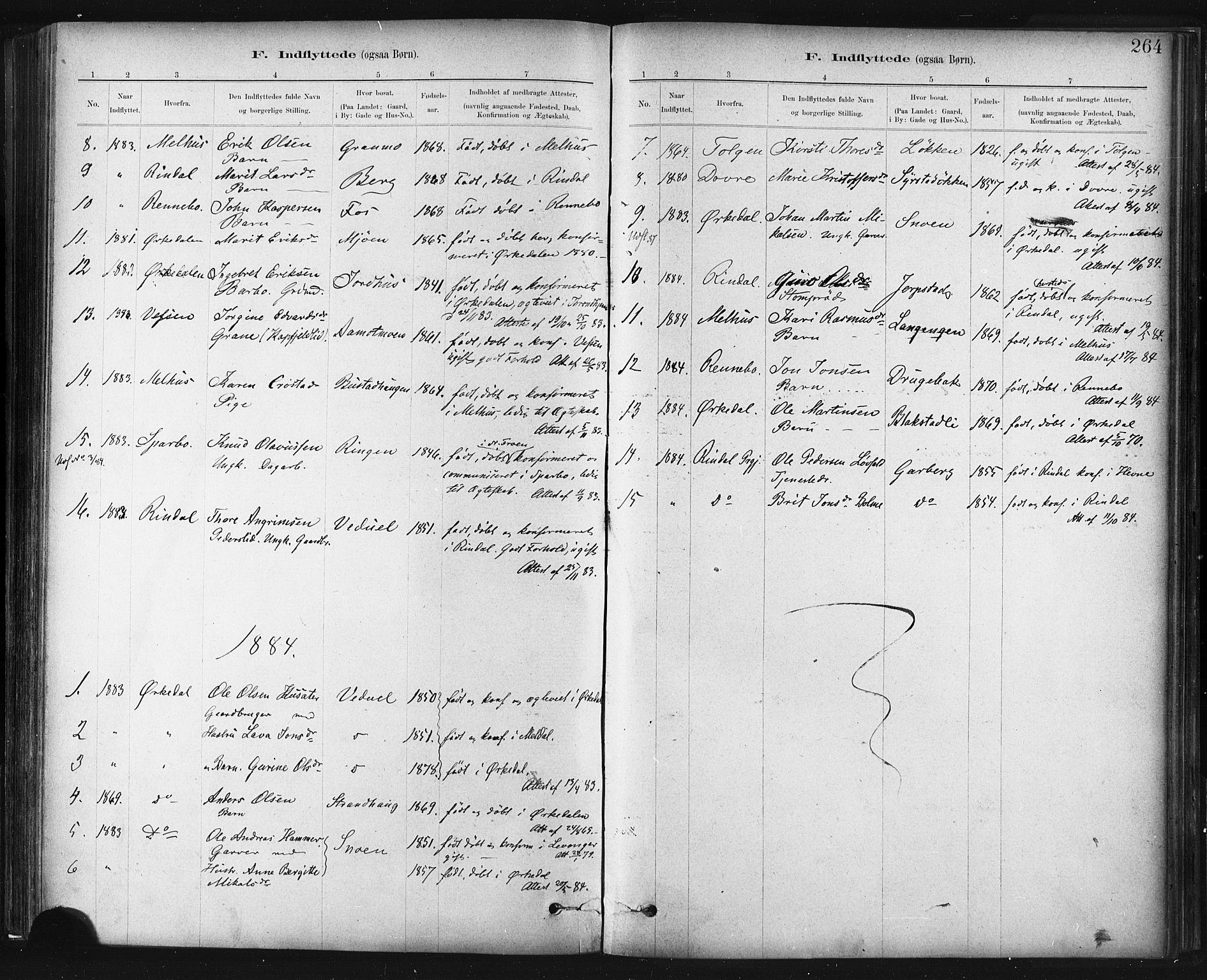 SAT, Ministerialprotokoller, klokkerbøker og fødselsregistre - Sør-Trøndelag, 672/L0857: Ministerialbok nr. 672A09, 1882-1893, s. 264