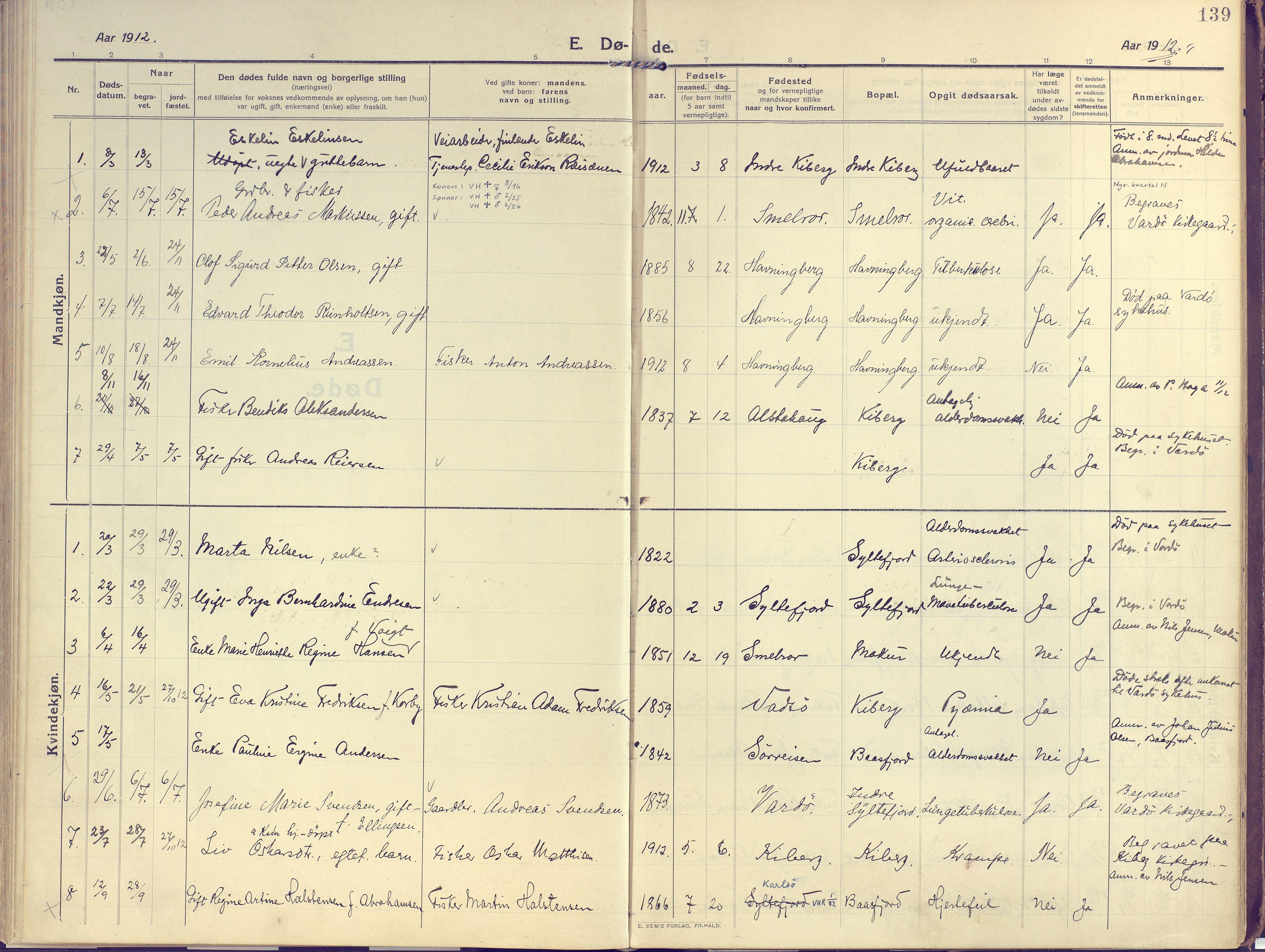 SATØ, Vardø sokneprestkontor, H/Ha/L0013kirke: Ministerialbok nr. 13, 1912-1928, s. 139