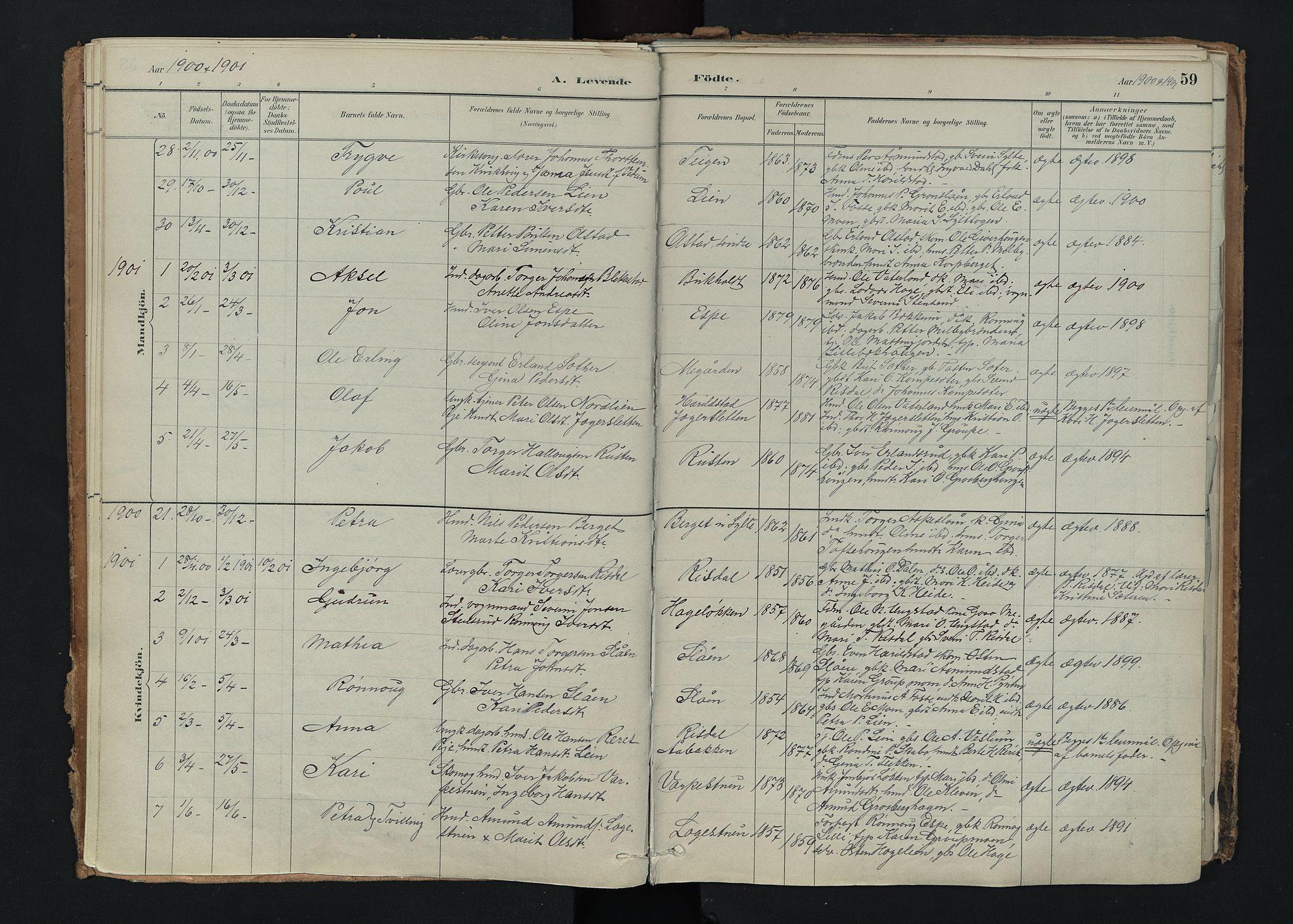 SAH, Nord-Fron prestekontor, Ministerialbok nr. 5, 1884-1914, s. 59